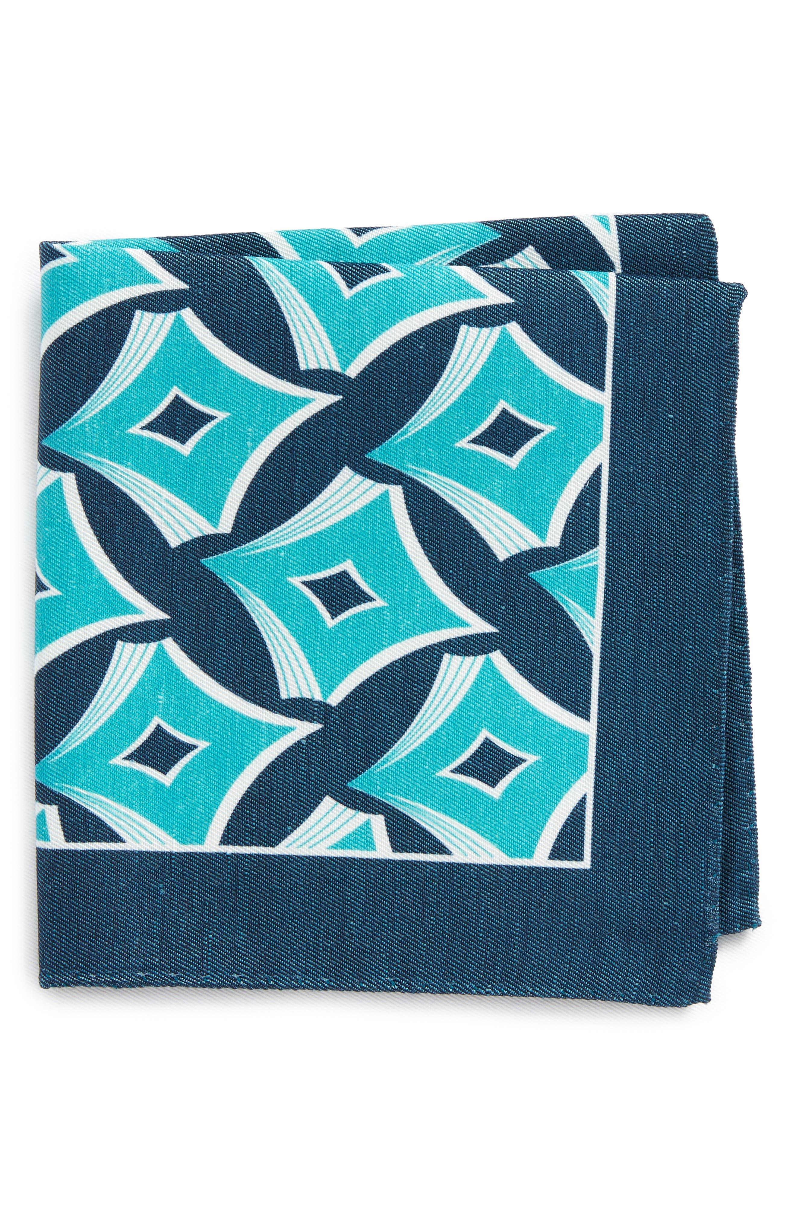 Geometric Linen & Silk Pocket Square,                         Main,                         color, Aqua