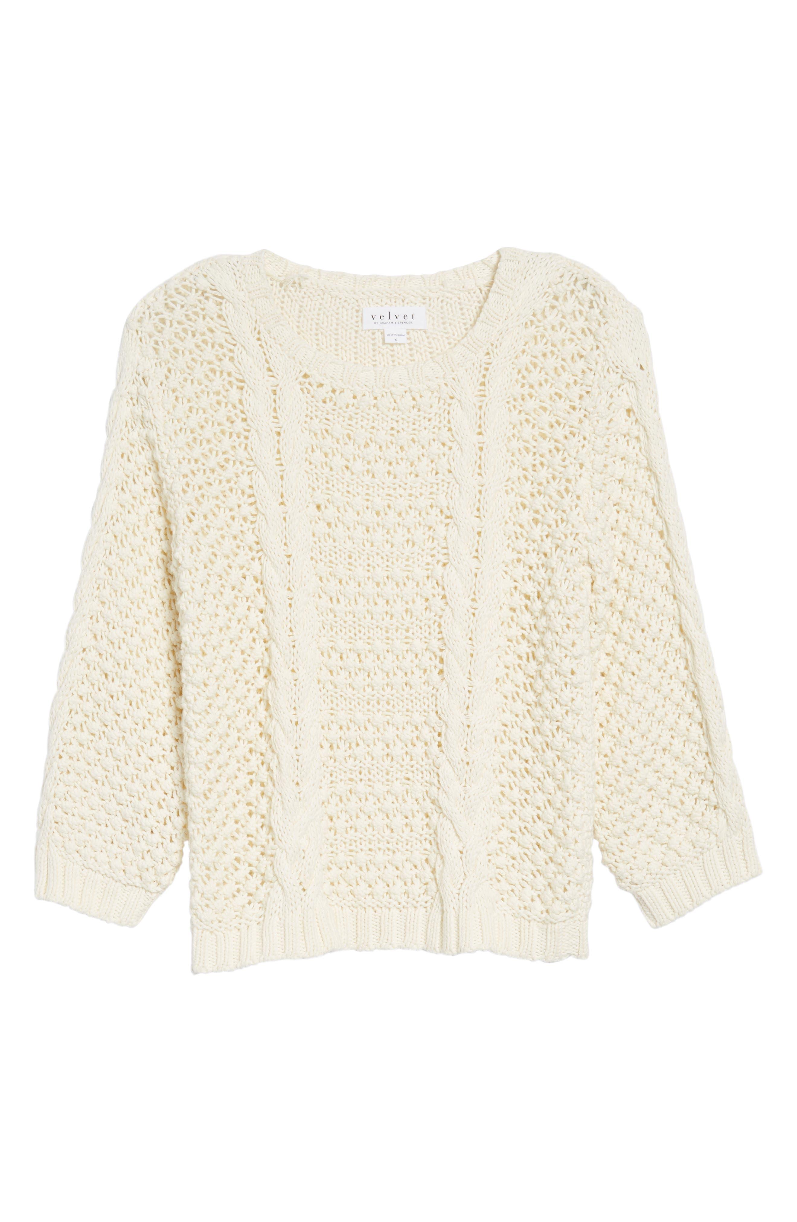 Popcorn Cable Sweater,                             Alternate thumbnail 6, color,                             Milk White
