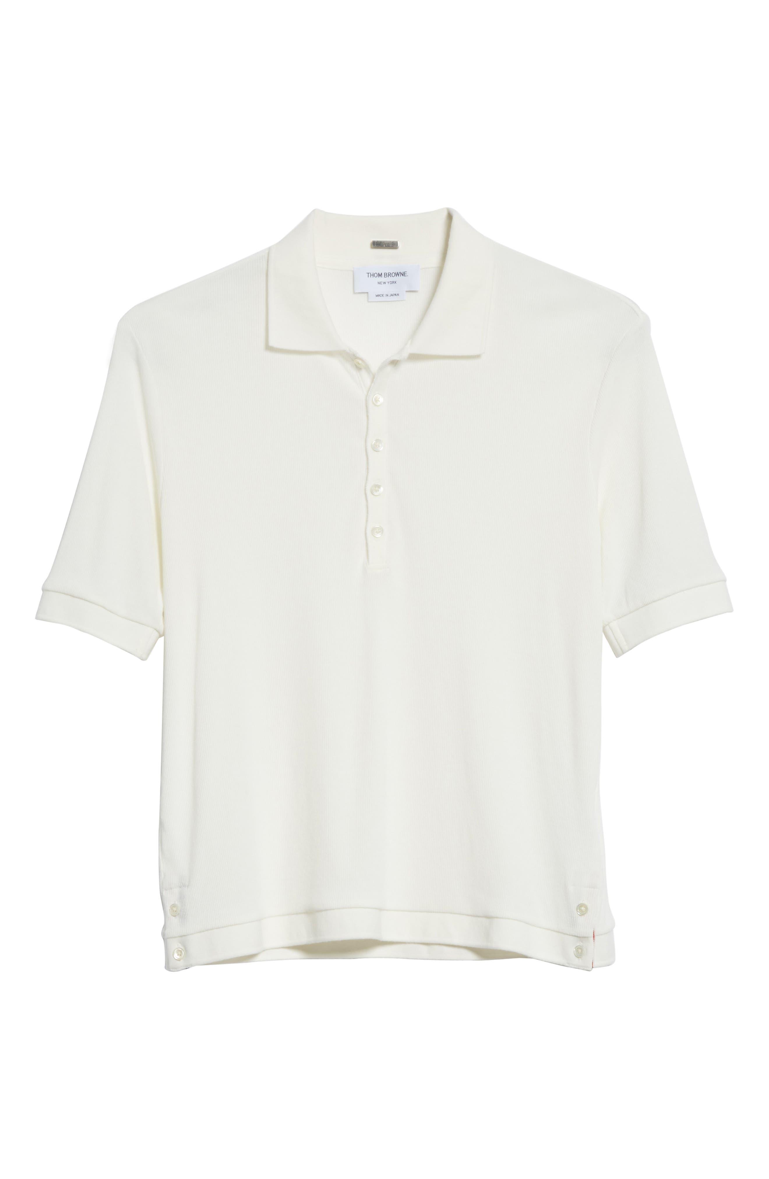 Ribbed Polo Shirt,                             Alternate thumbnail 6, color,                             White
