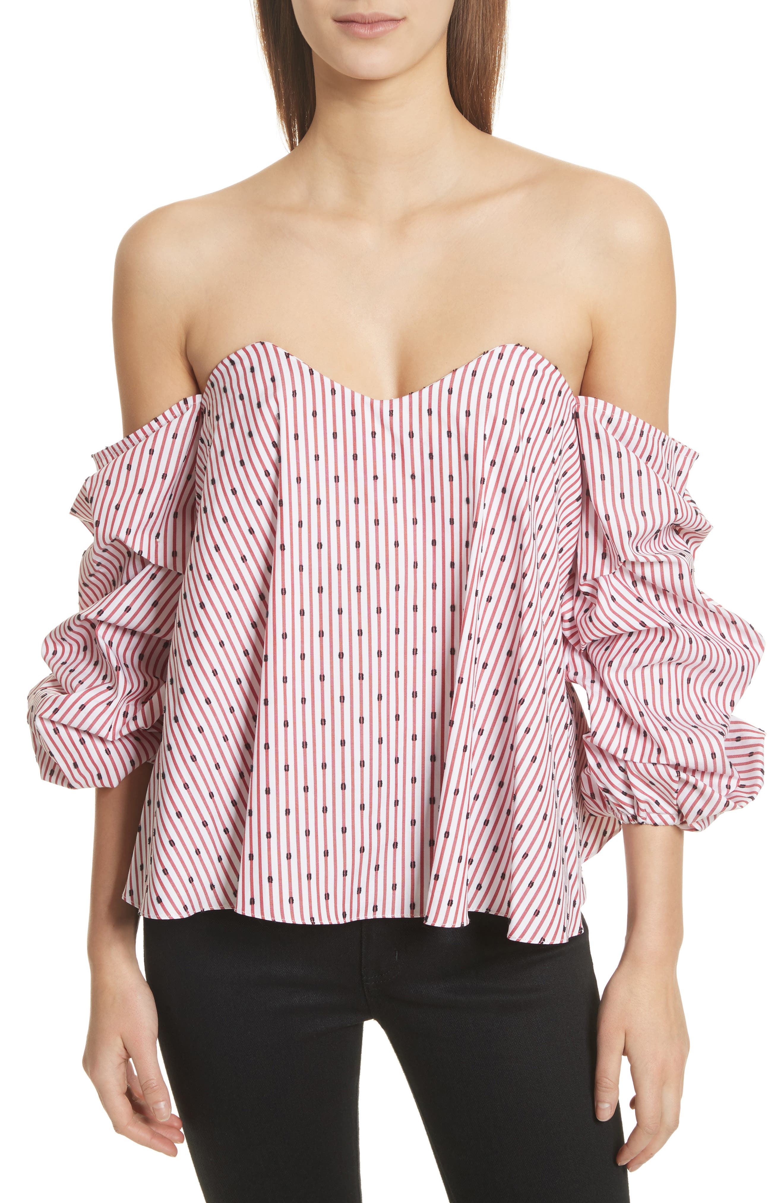 Gabriella Bustier Off the Shoulder Top,                         Main,                         color, Red