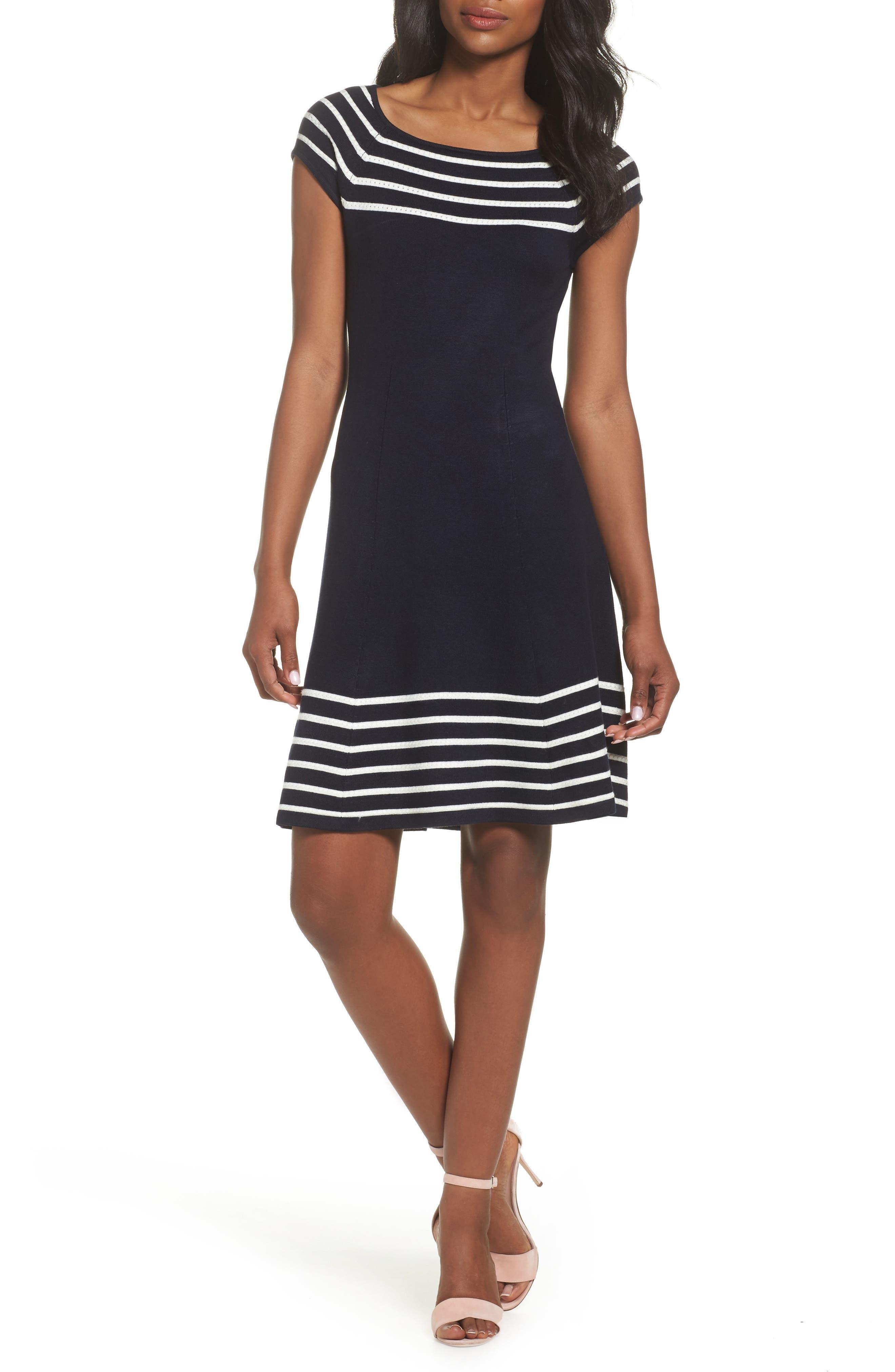 Stripe Knit Flared Dress,                             Main thumbnail 1, color,                             Ivory/ Navy