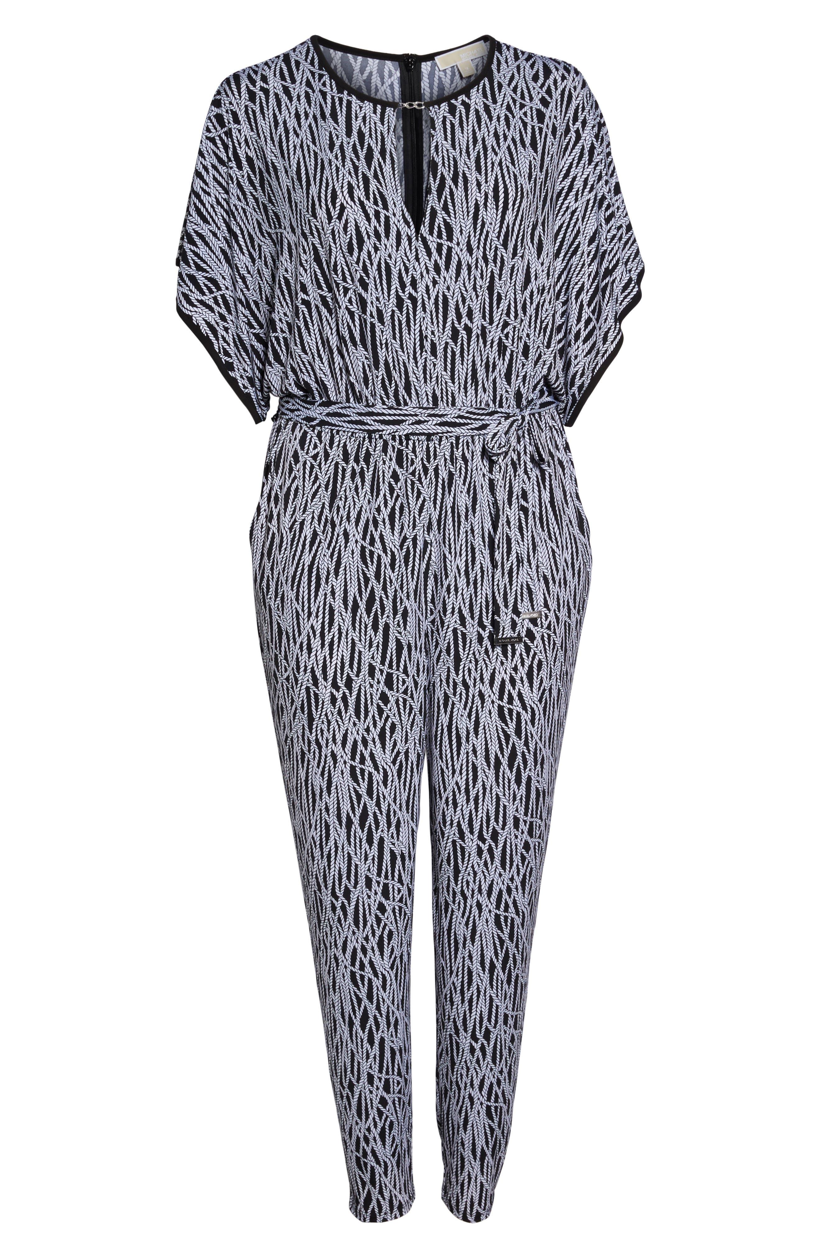 Chained Keyhole Neck Jumpsuit,                             Alternate thumbnail 6, color,                             Black/ White