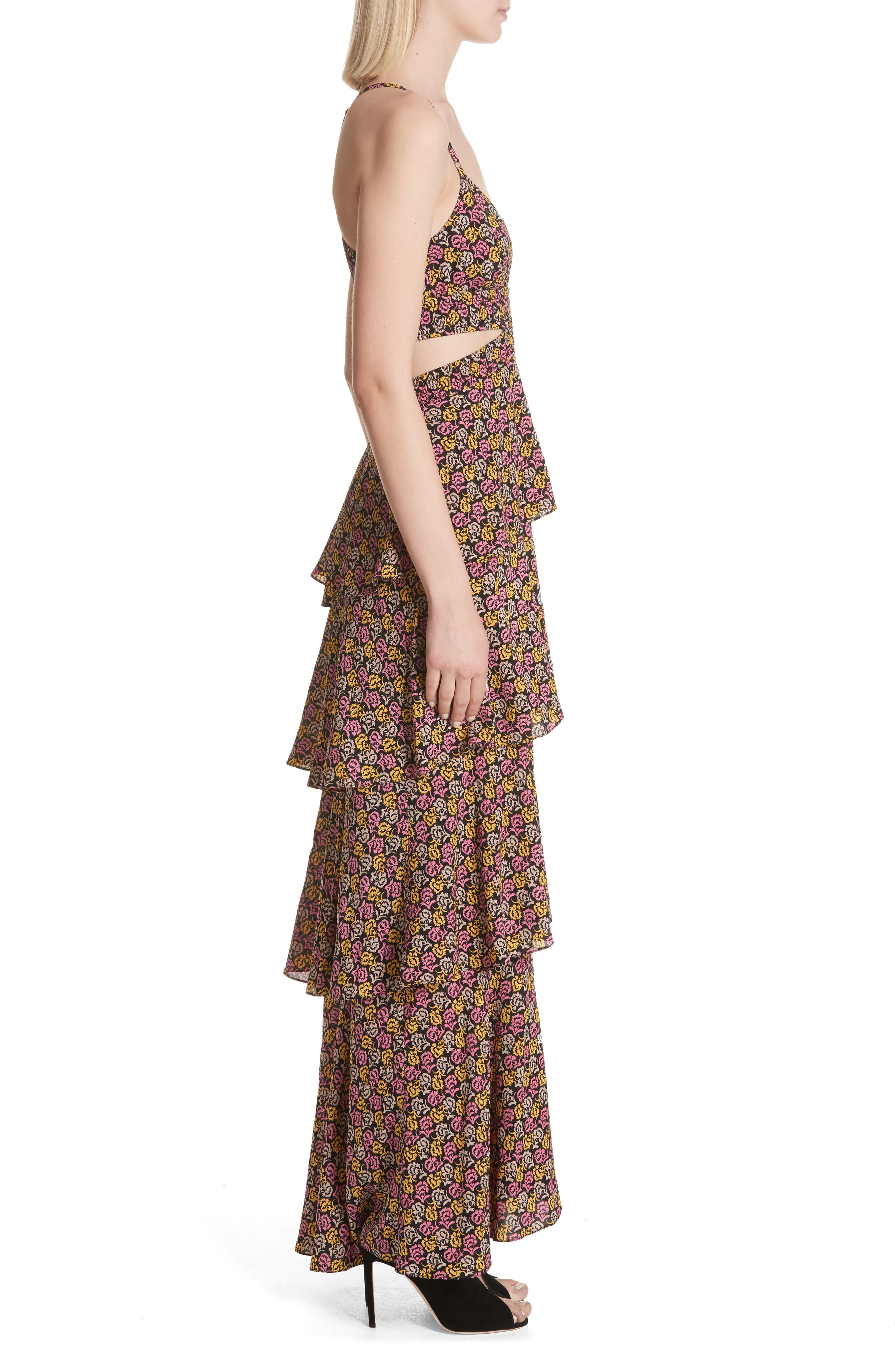 Titus Print Silk Tiered Maxi Dress,                             Alternate thumbnail 3, color,                             Pink Multi