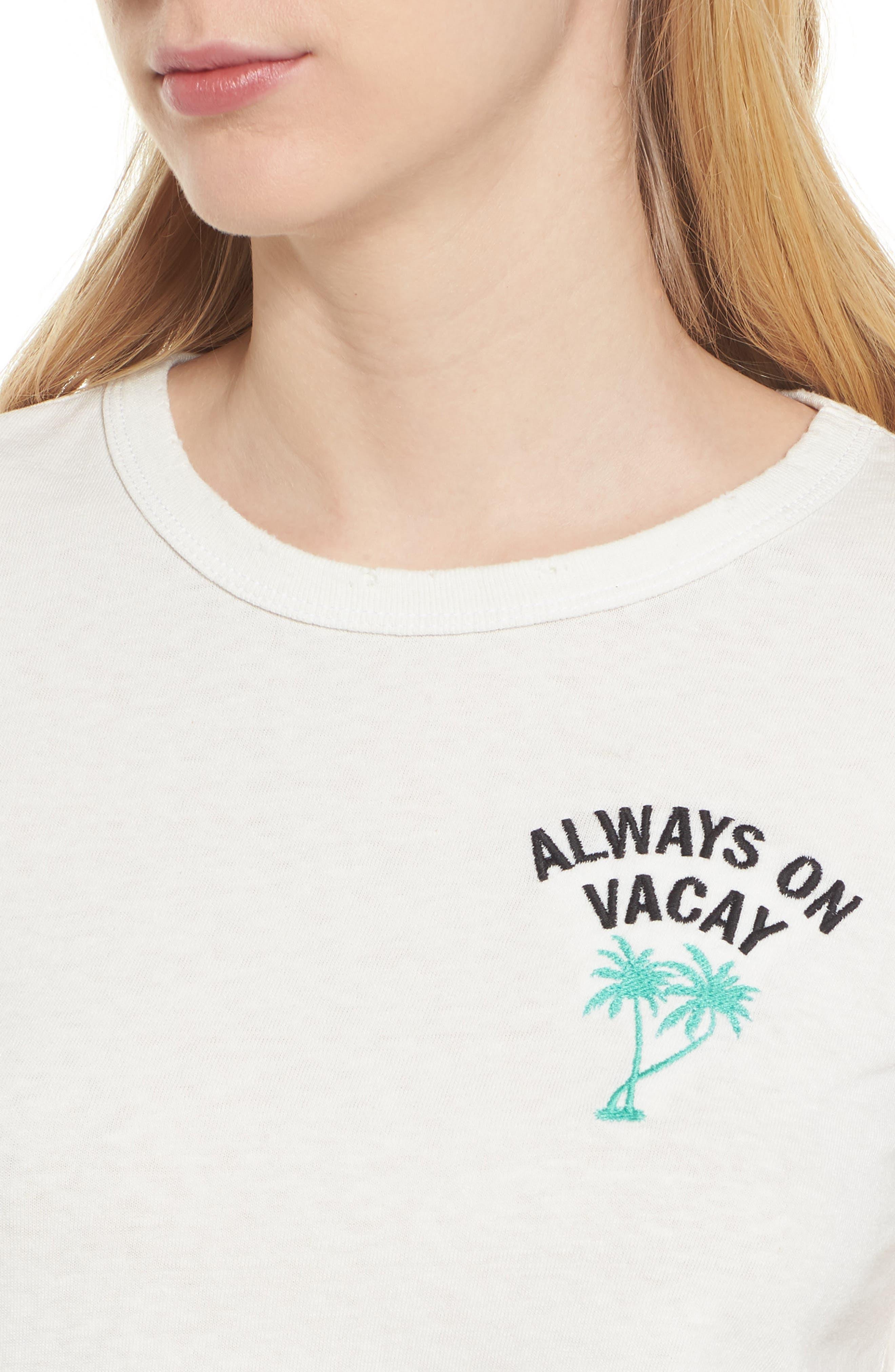 Always on Vacay Tee,                             Alternate thumbnail 4, color,                             Vintage White