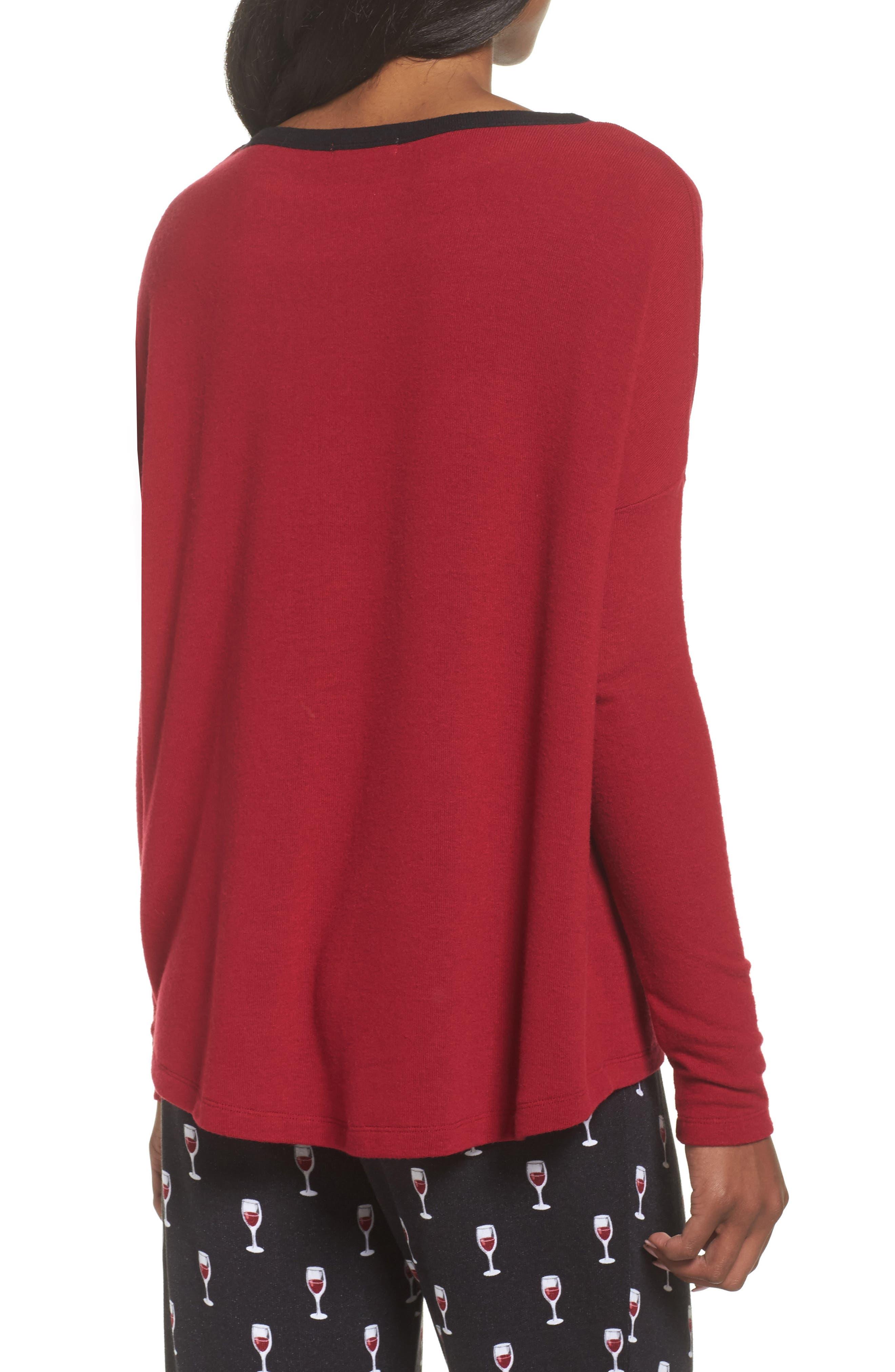 Graphic Pajama Top,                             Alternate thumbnail 2, color,                             Deep Red