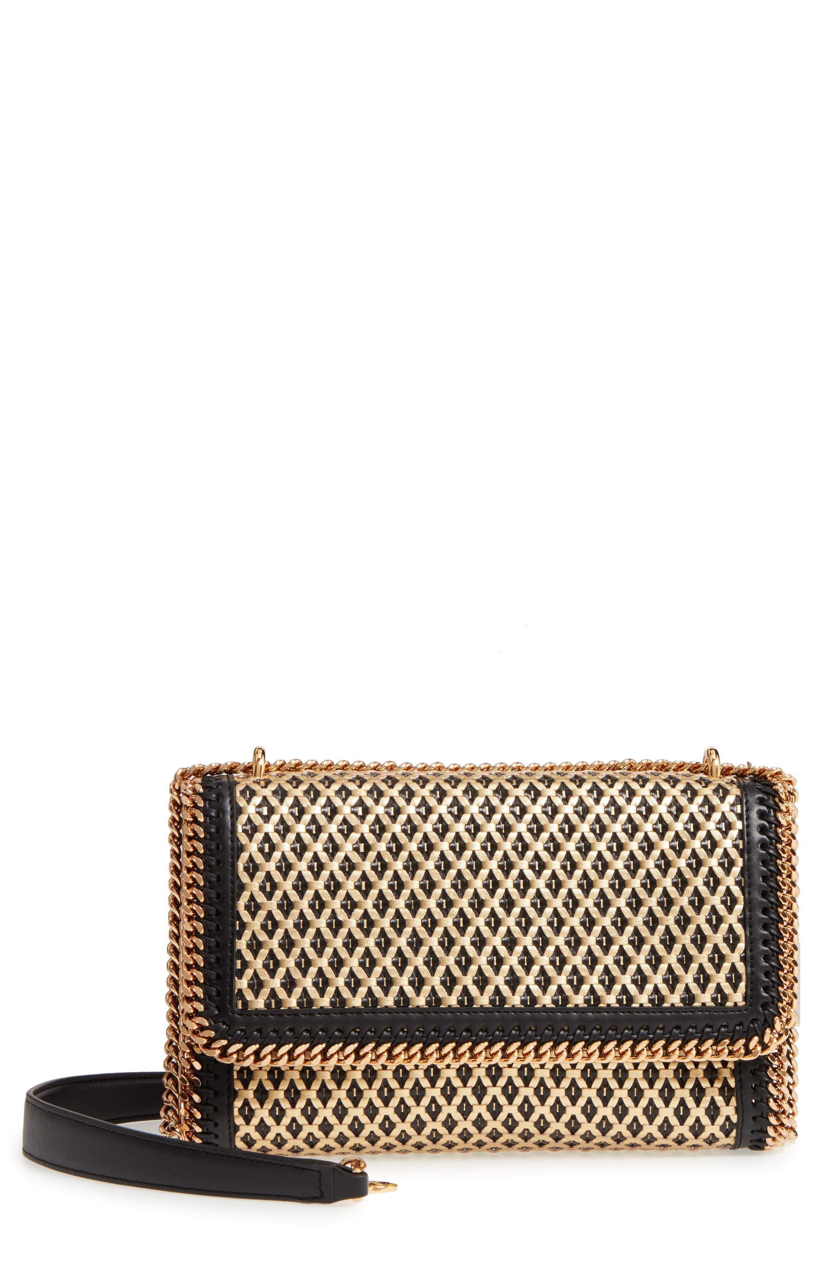 Woven Faux Leather Flap Shoulder Bag,                             Main thumbnail 1, color,                             Black