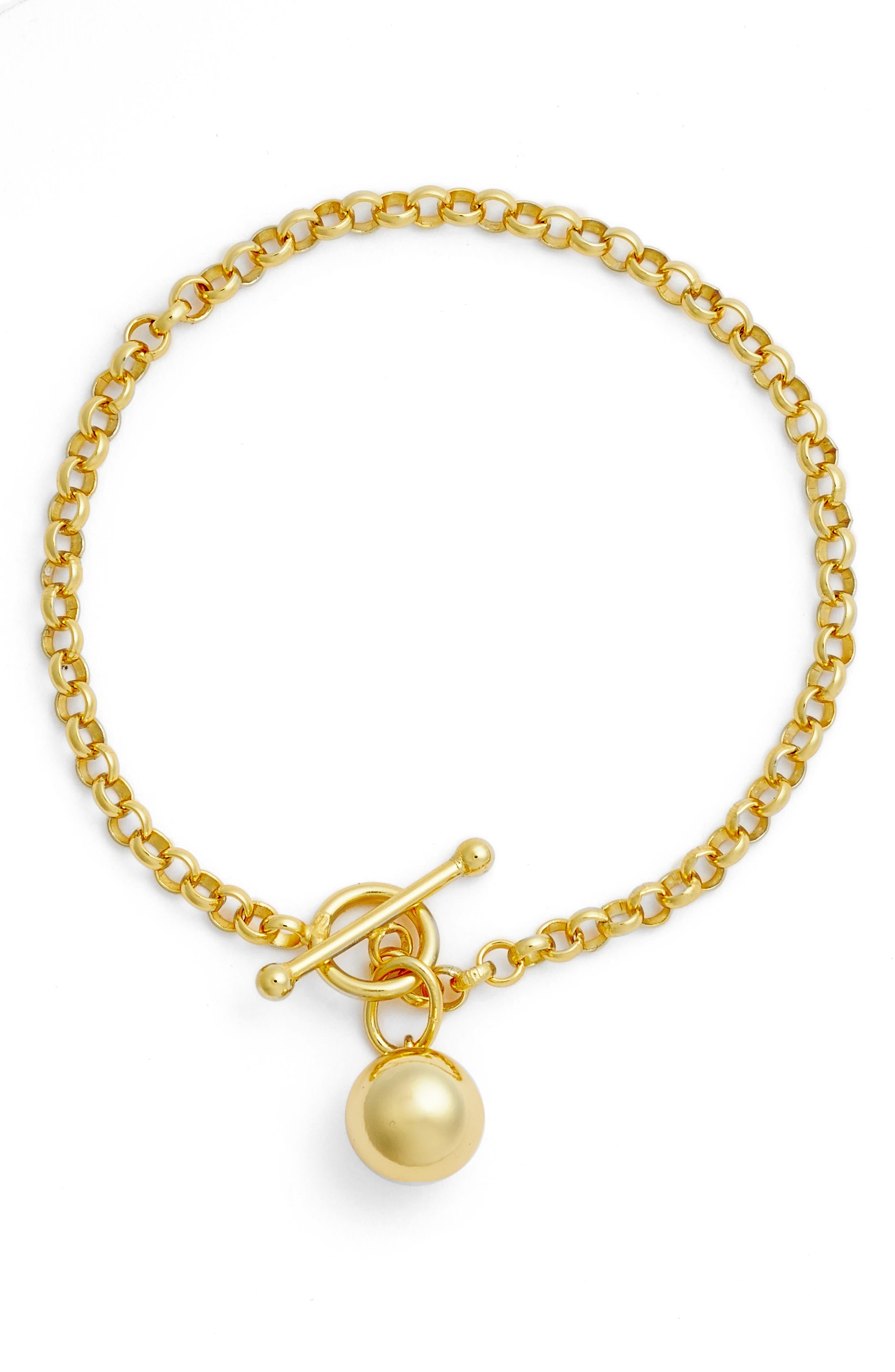 Sphere Charm Link Bracelet,                             Main thumbnail 1, color,                             Gold