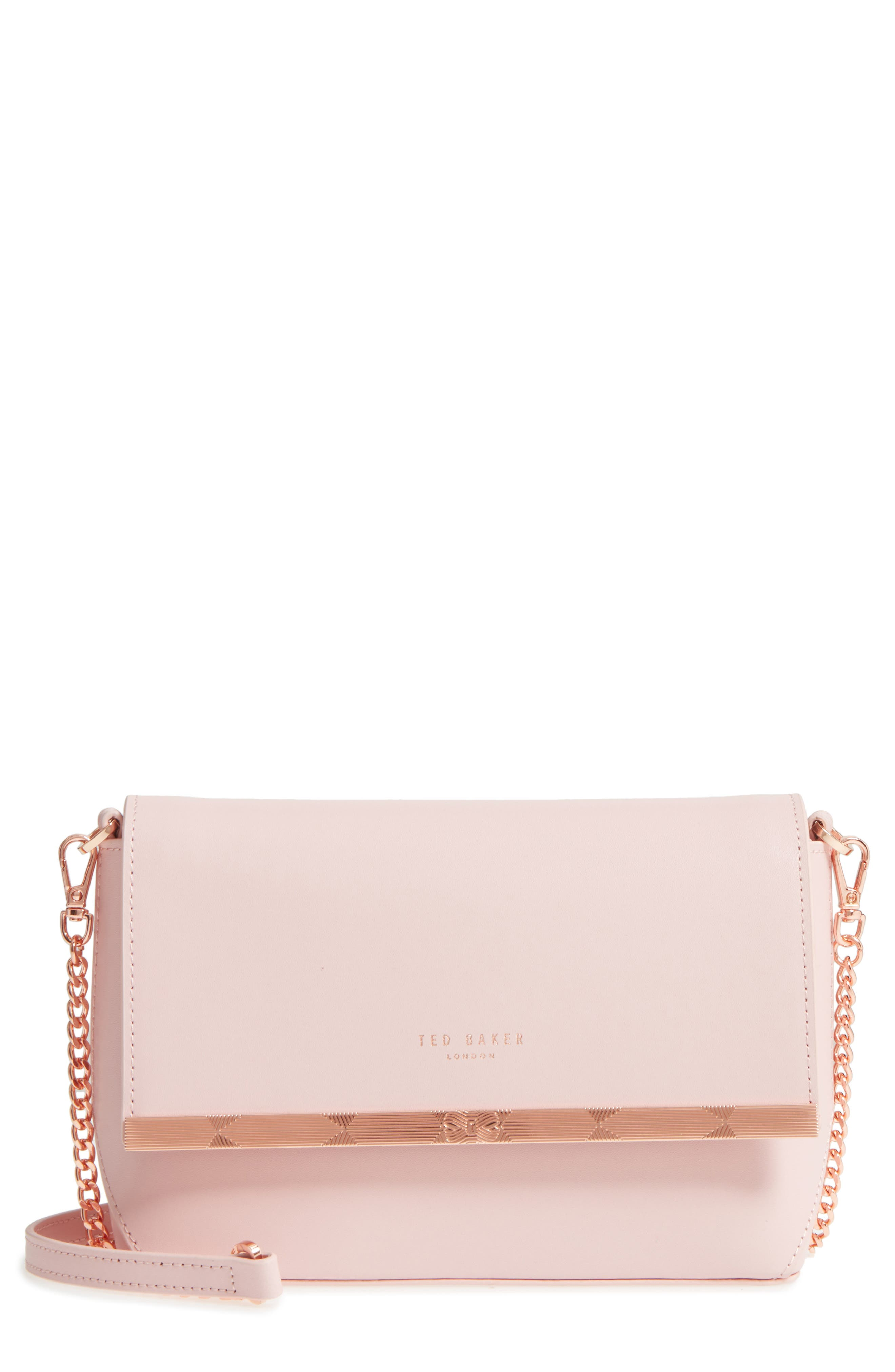 Bow Embossed Leather Crossbody Bag,                             Main thumbnail 1, color,                             Light Pink