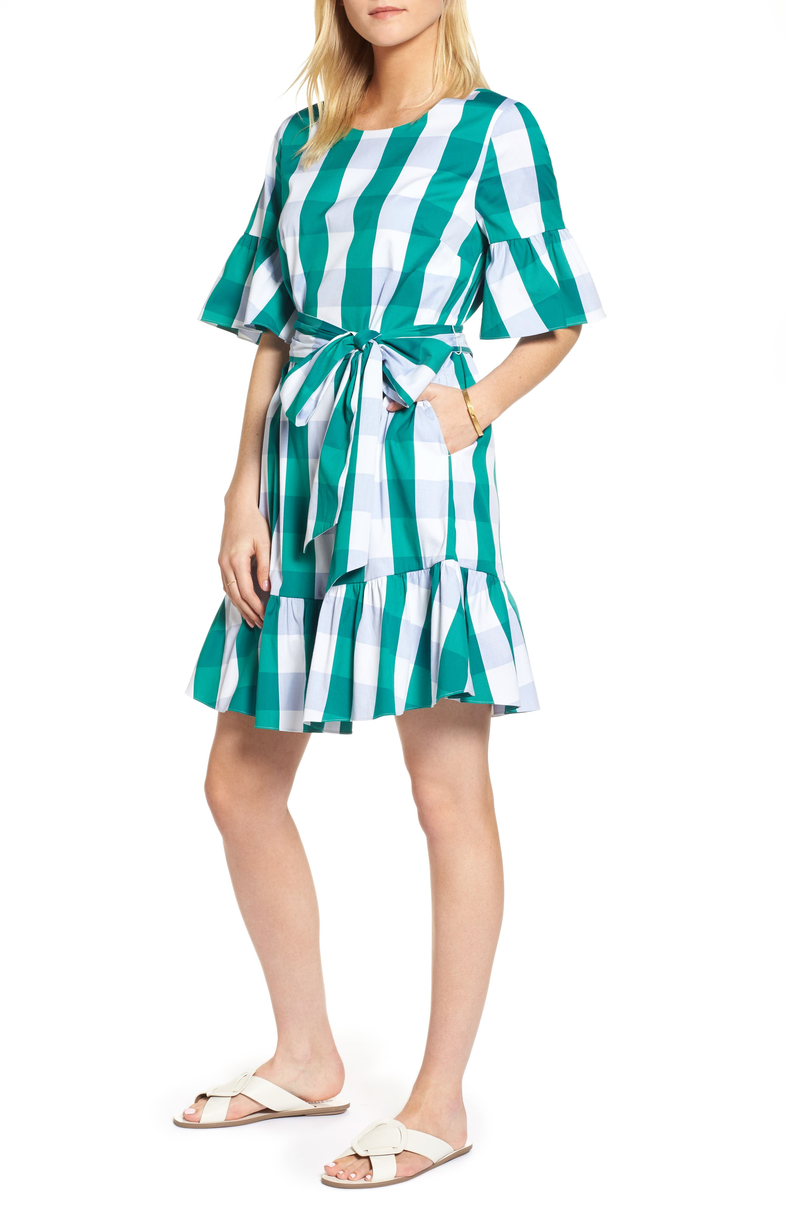 Ruffle & Bow Dress,                             Main thumbnail 1, color,                             Green- Blue Gingham