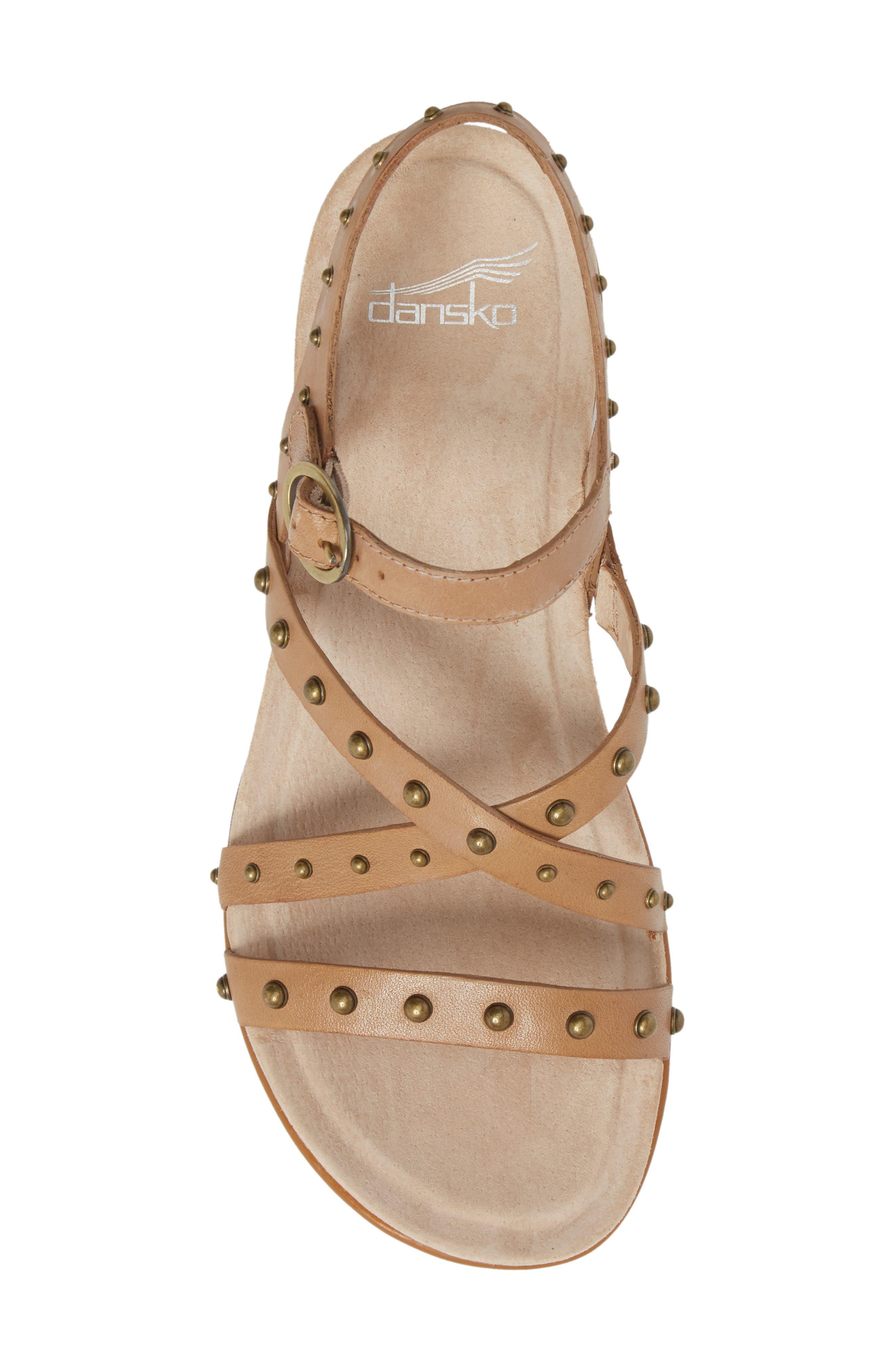 Brigitte Studded Strappy Sandal,                             Alternate thumbnail 5, color,                             Sand Leather