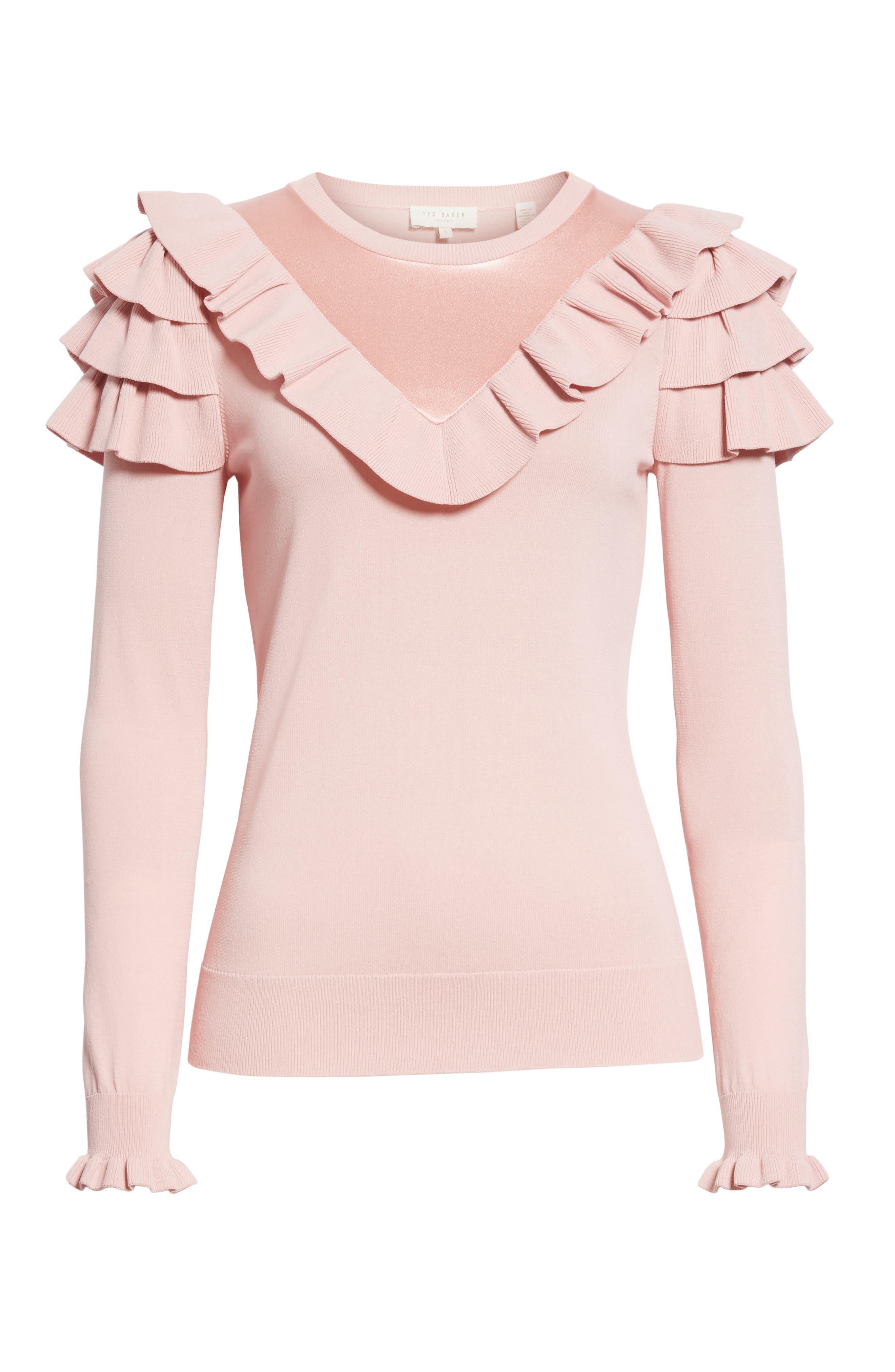 Satin Contrast Ruffle Sweater,                             Alternate thumbnail 6, color,                             Dusky Pink