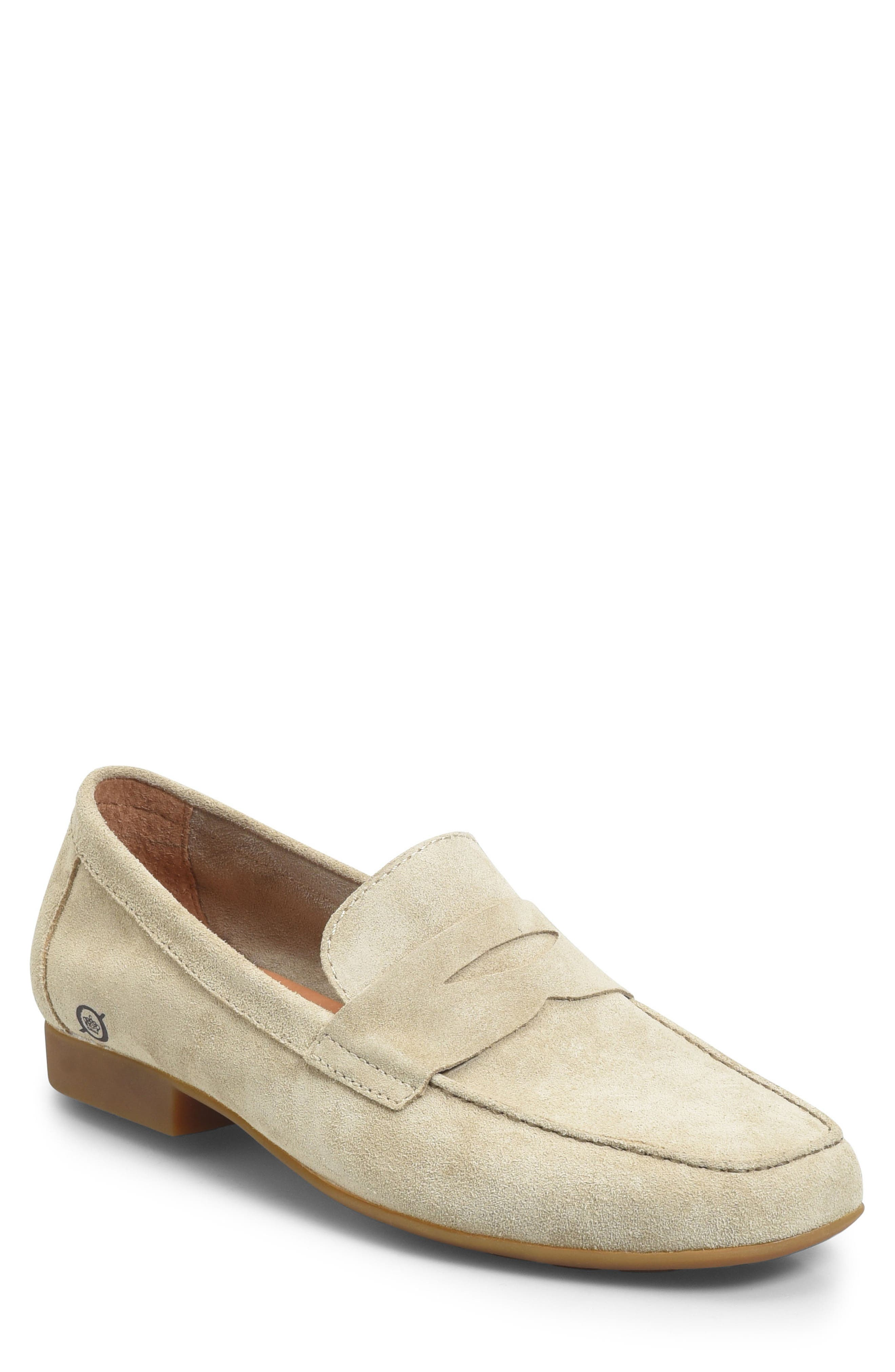 'Dave' Penny Loafer,                             Main thumbnail 1, color,                             Natural Suede