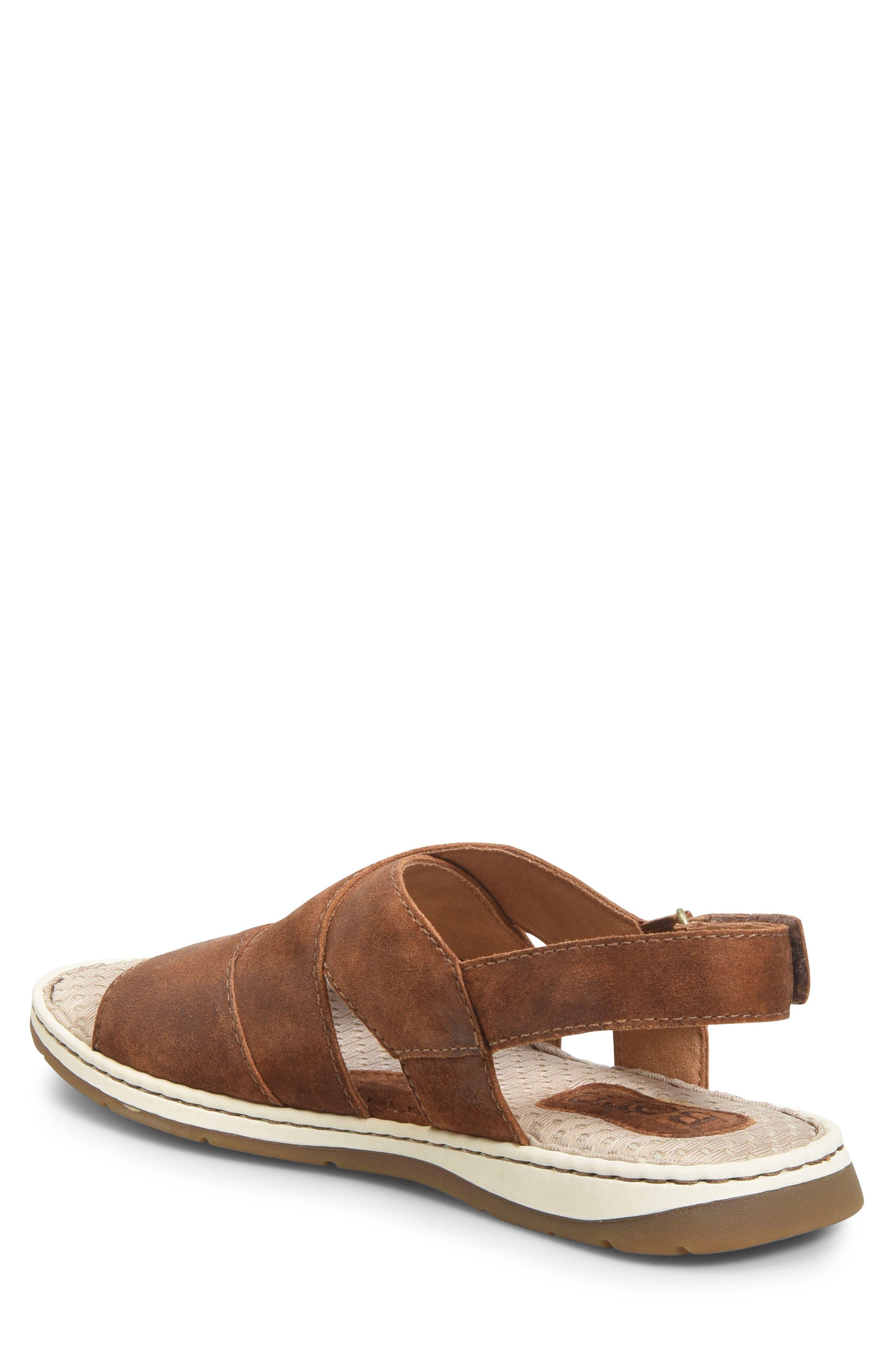 Shell Cross Strap Sandal,                             Alternate thumbnail 2, color,                             Rust Leather