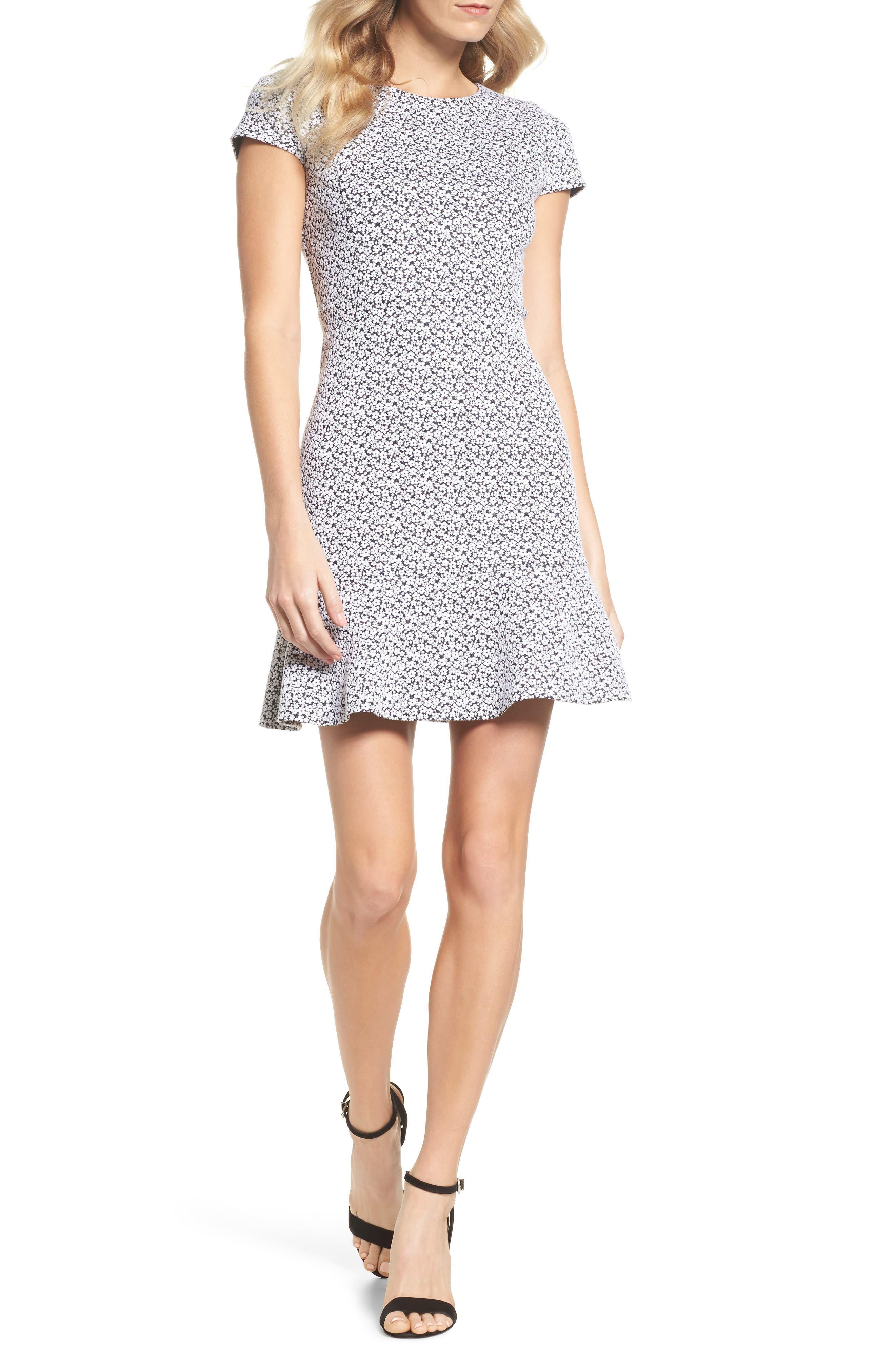 Floral Knit Jacquard Flounce Dress,                         Main,                         color, Black/ White