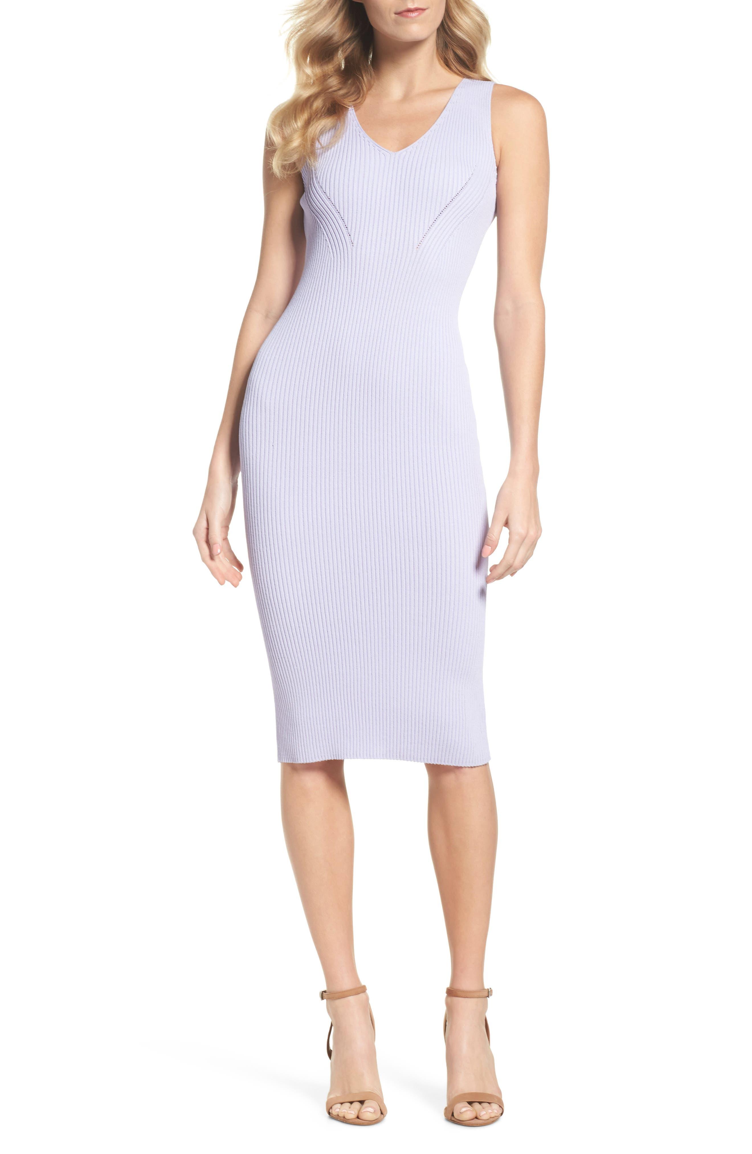 V-Neck Rib Knit Sweater Dress,                         Main,                         color, Light Quartz