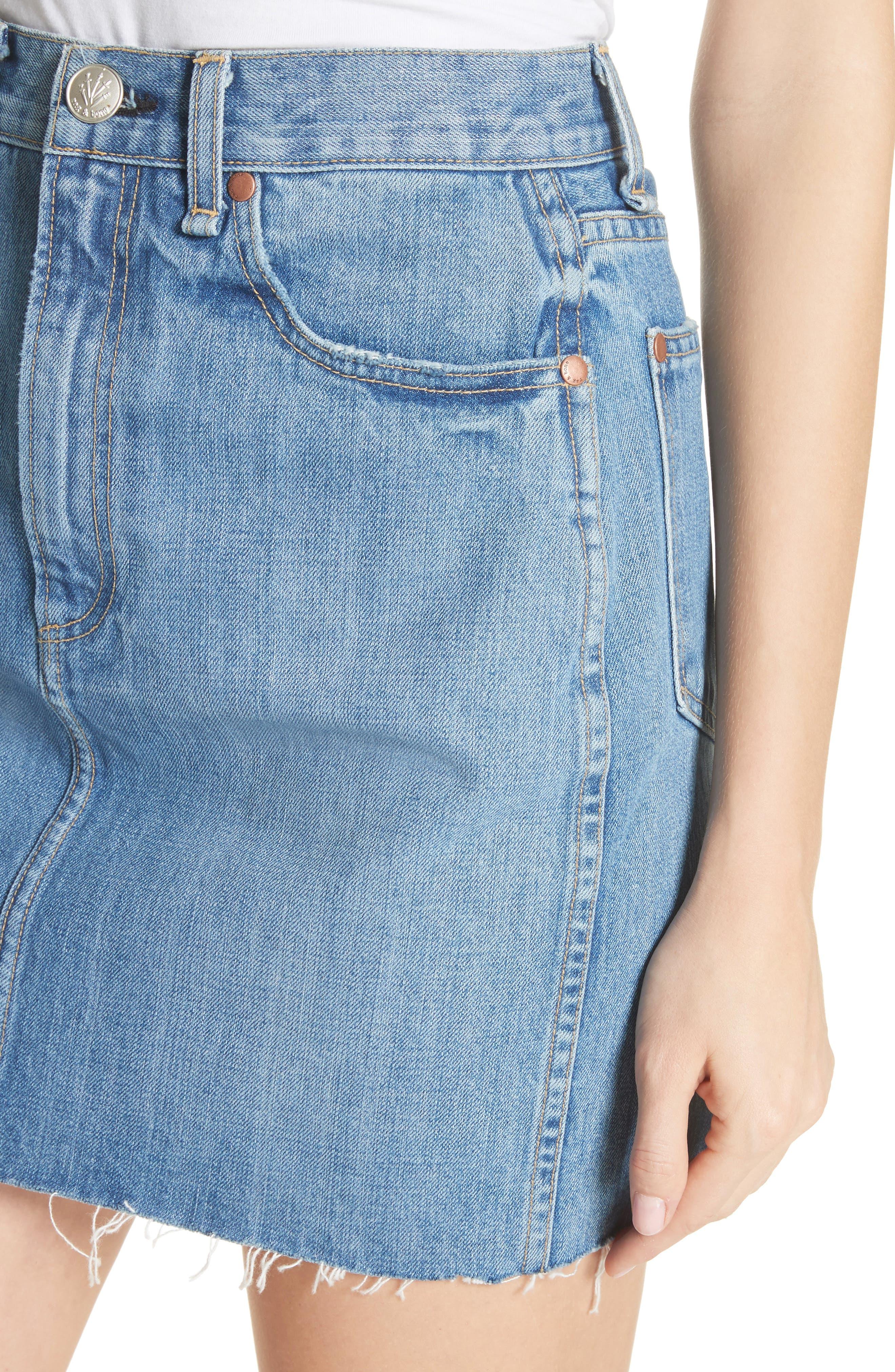 Alternate Image 4  - rag & bone/JEAN Moss High Waist Denim Miniskirt (Clean Levee)
