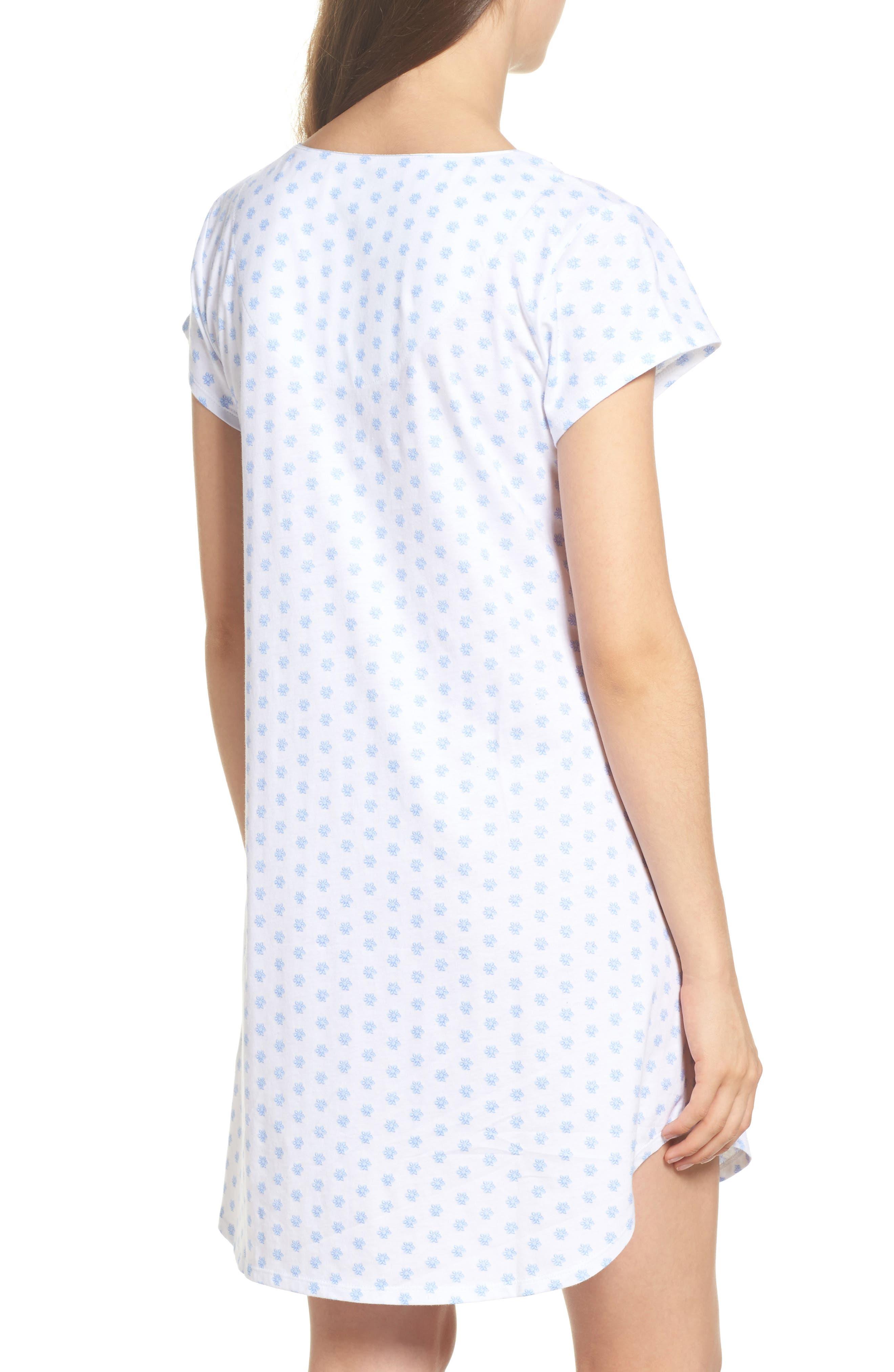 Jersey Sleep Shirt,                             Alternate thumbnail 2, color,                             White Blue Geo