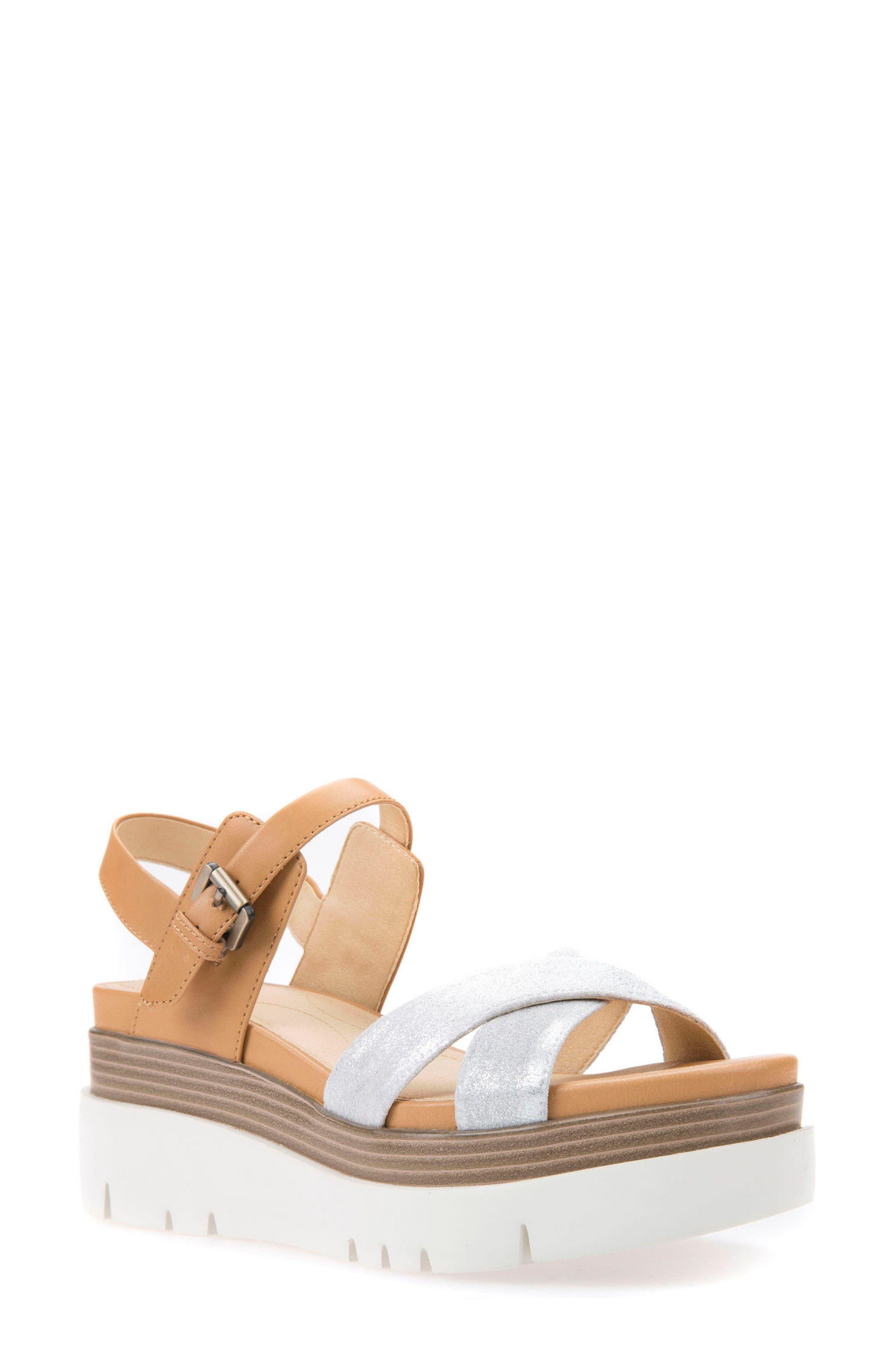 Radwa Platform Sandal,                             Main thumbnail 1, color,                             Off White Leather