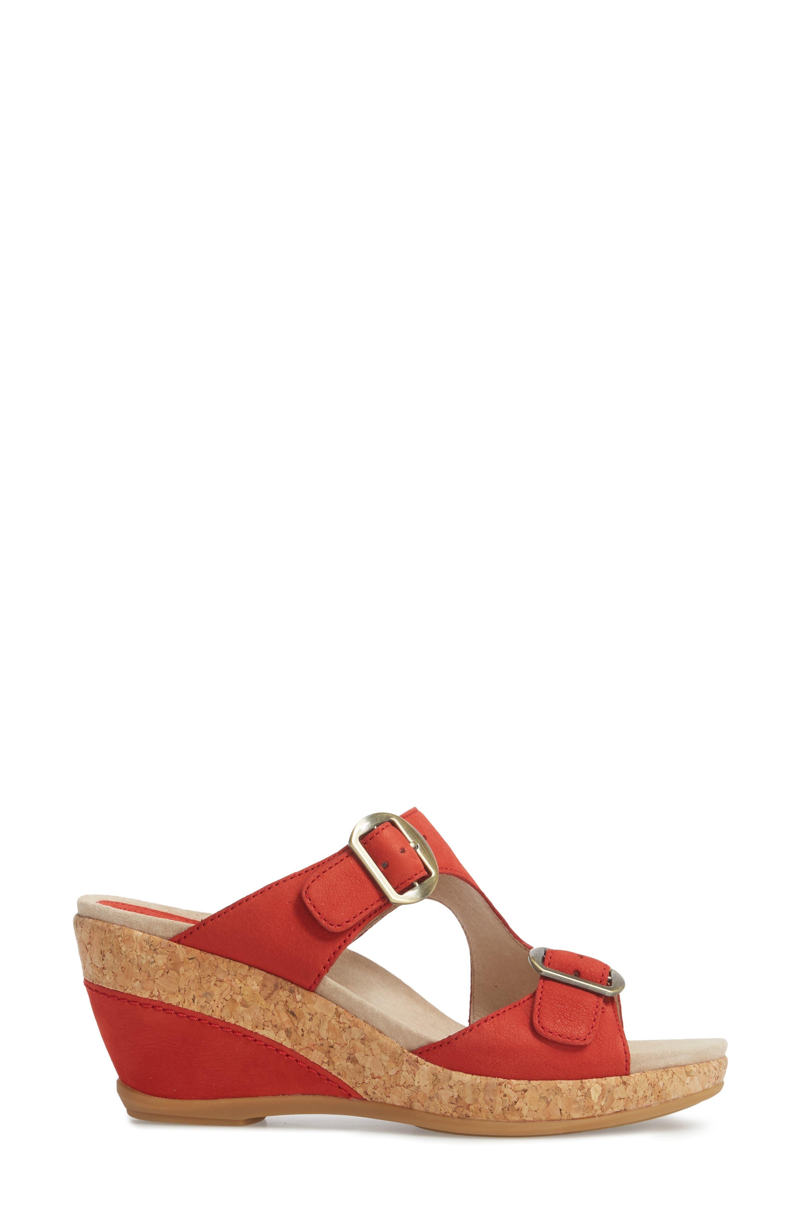 Carla Wedge Slide Sandal,                             Alternate thumbnail 3, color,                             Tomato Milled Nubuck Leather