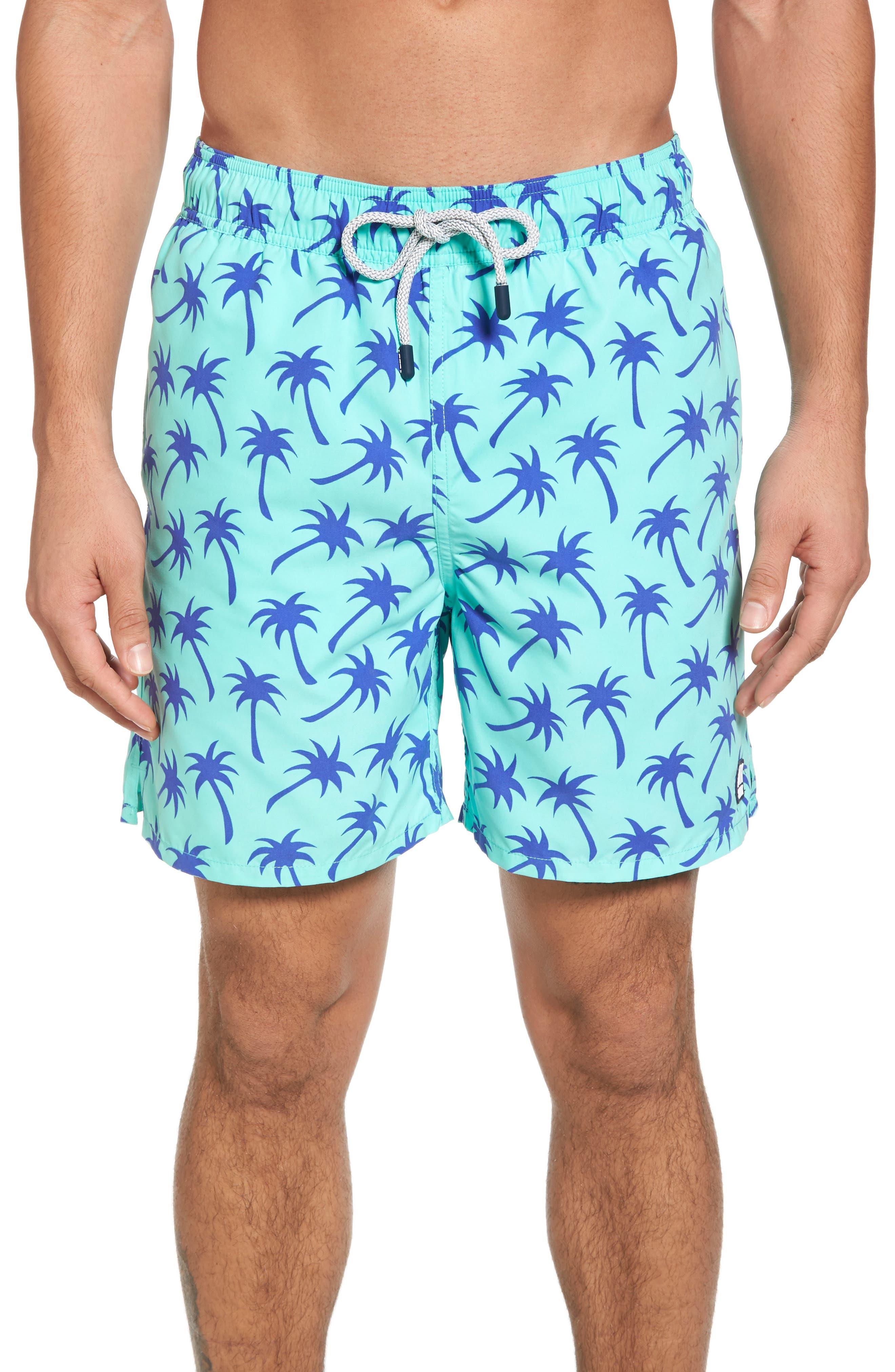 Palm Tree Print Swim Trunks,                         Main,                         color, Emerald/ Blue