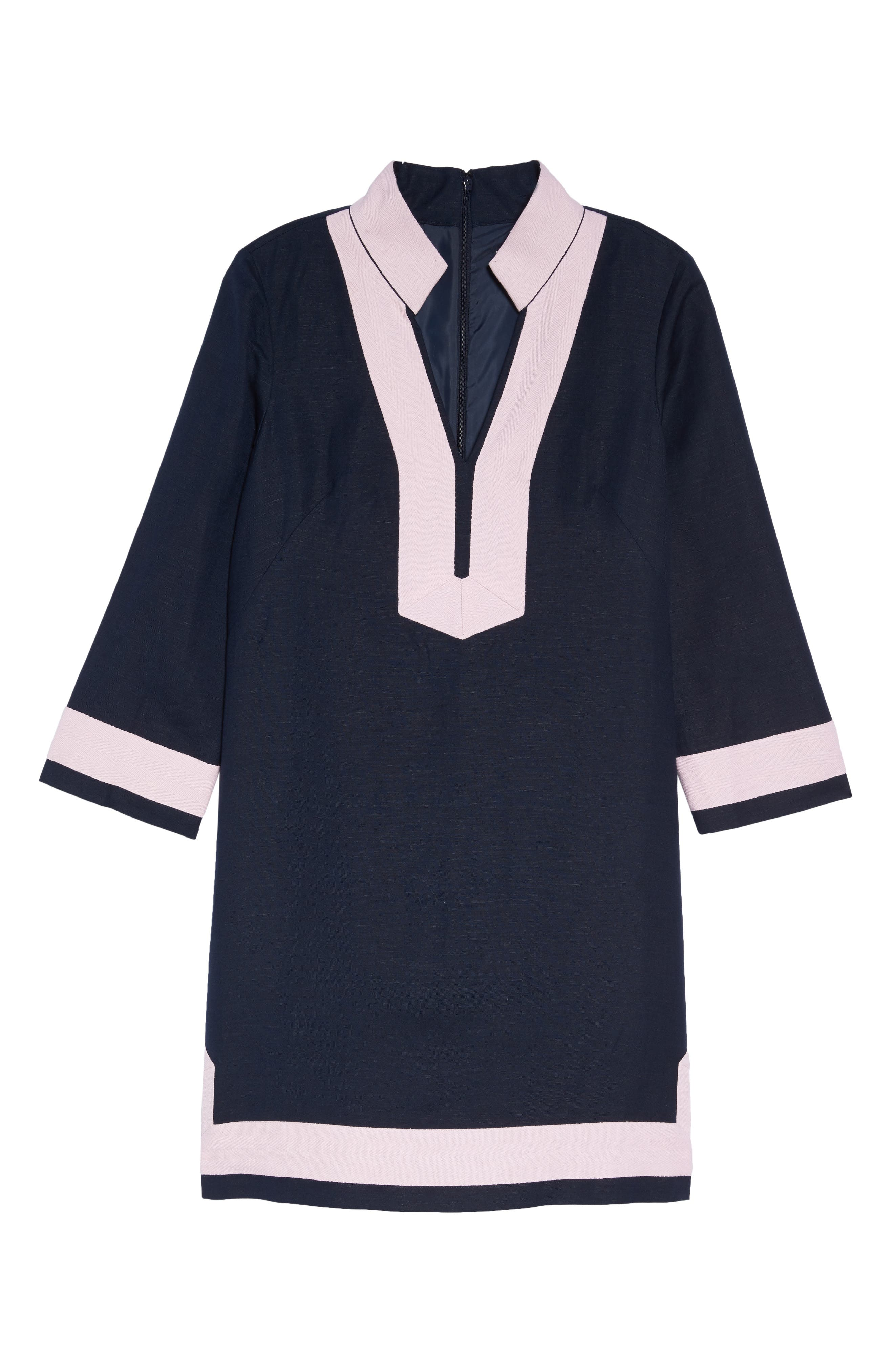 Mandarin Collar Shift Dress,                             Alternate thumbnail 6, color,                             Navy/ Pansy