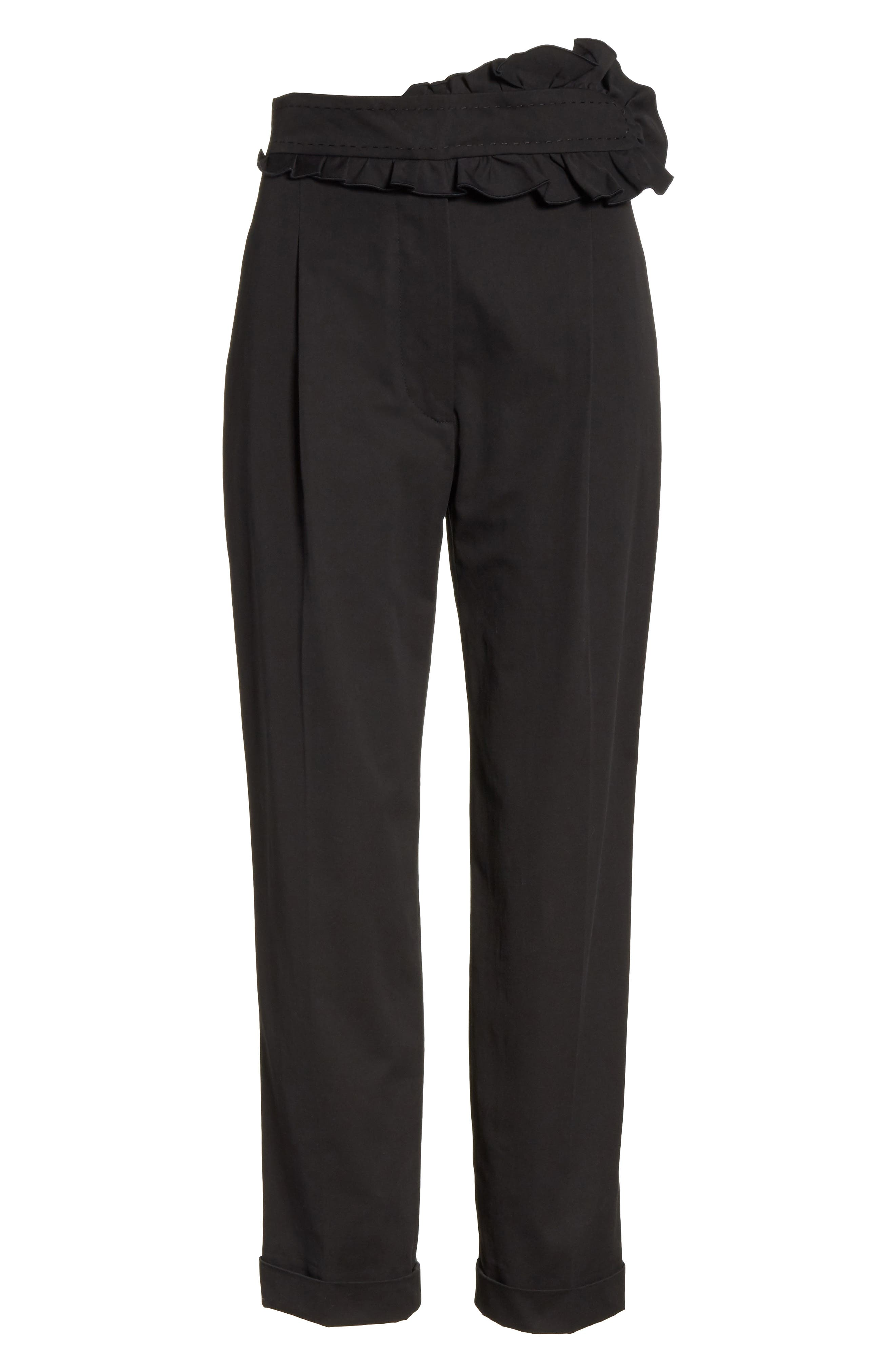 Ruffle Waist Crop Pants,                             Alternate thumbnail 6, color,                             Noir