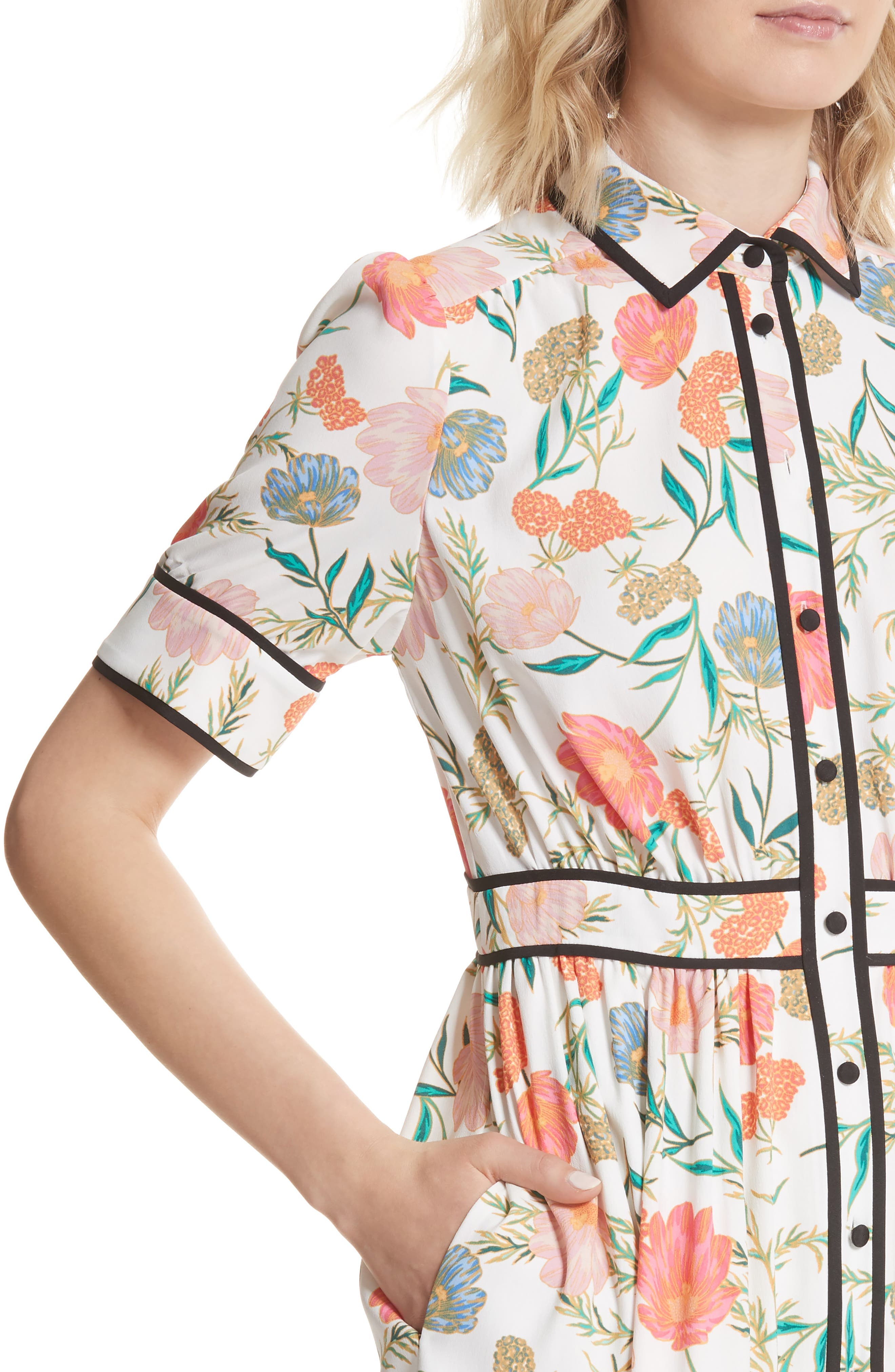 blossom print fluid shirtdress,                             Alternate thumbnail 4, color,                             Cream