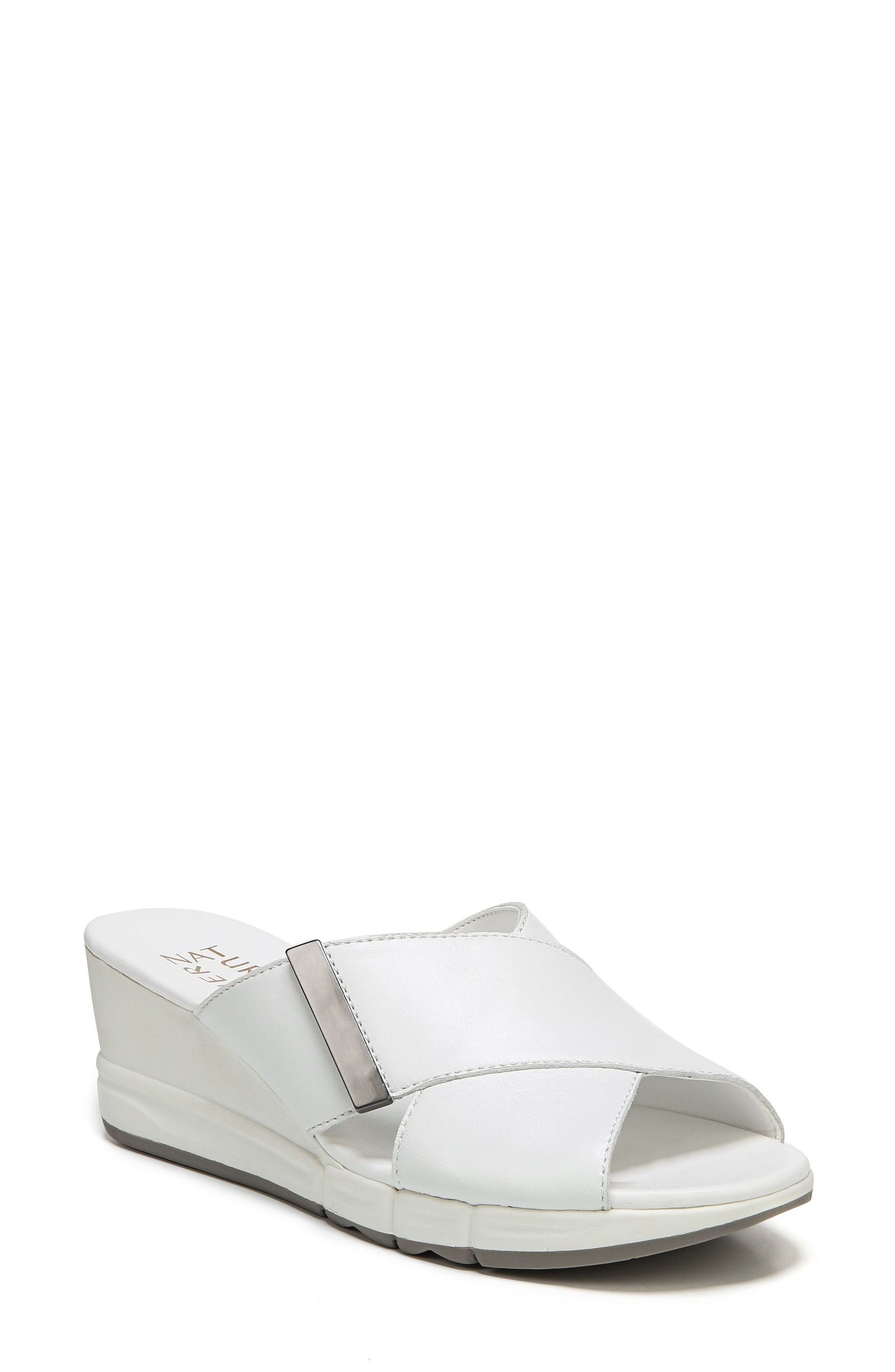 Izzy Wedge Sandal,                         Main,                         color, White Leather