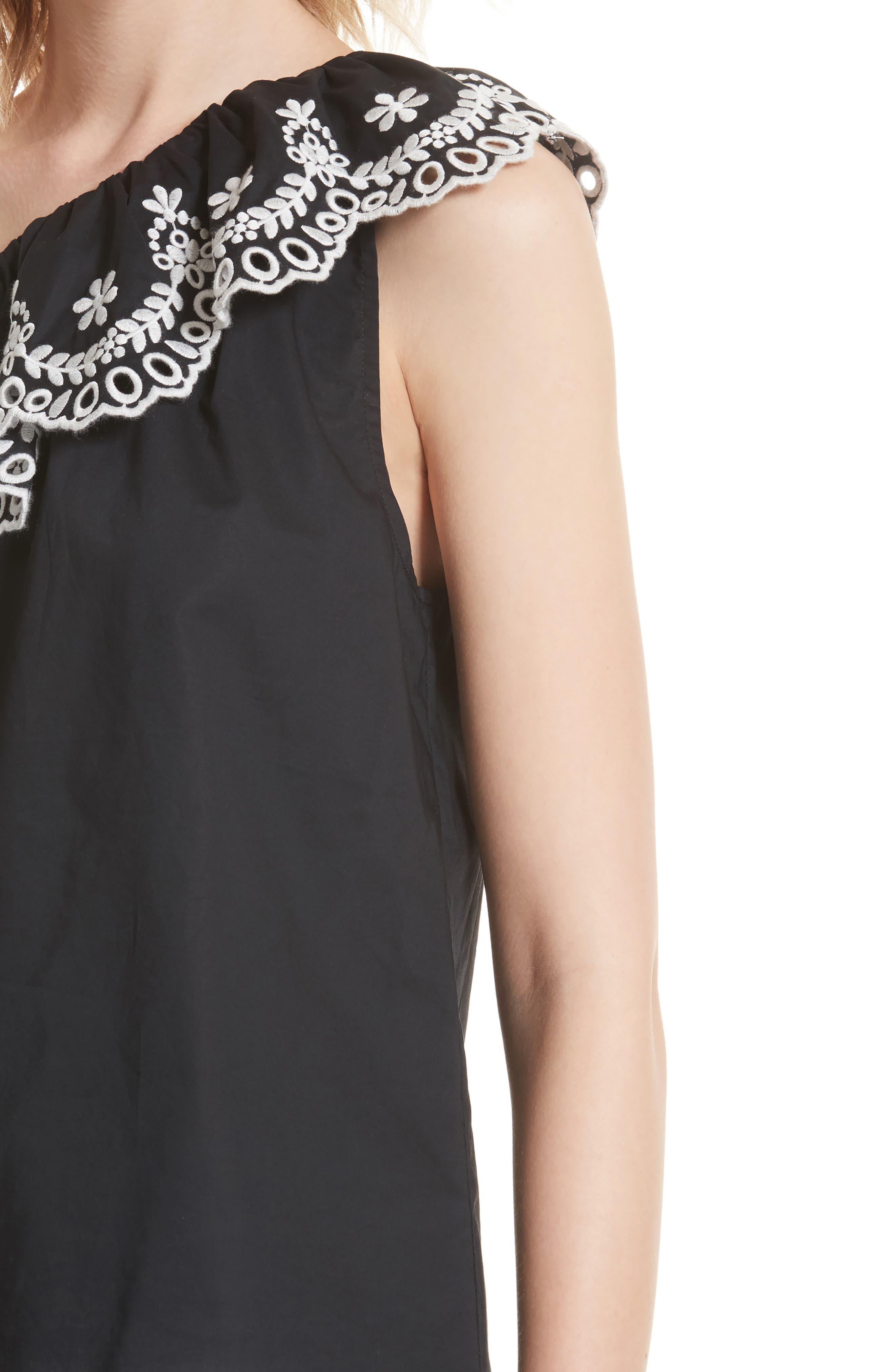 one-shoulder cutwork top,                             Alternate thumbnail 4, color,                             Black