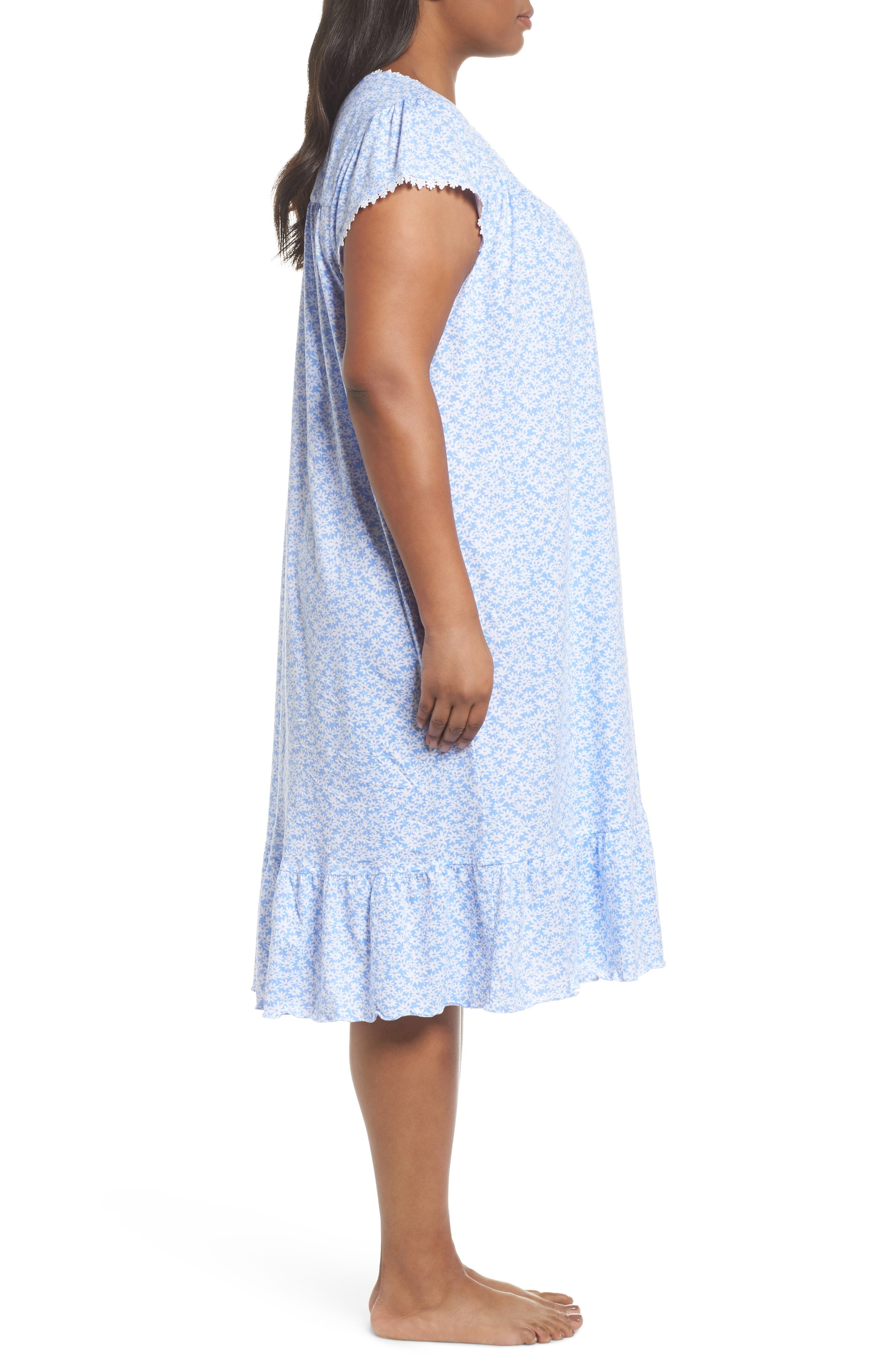 Cotton Jersey Waltz Nightgown,                             Alternate thumbnail 3, color,                             Blue White Daisies