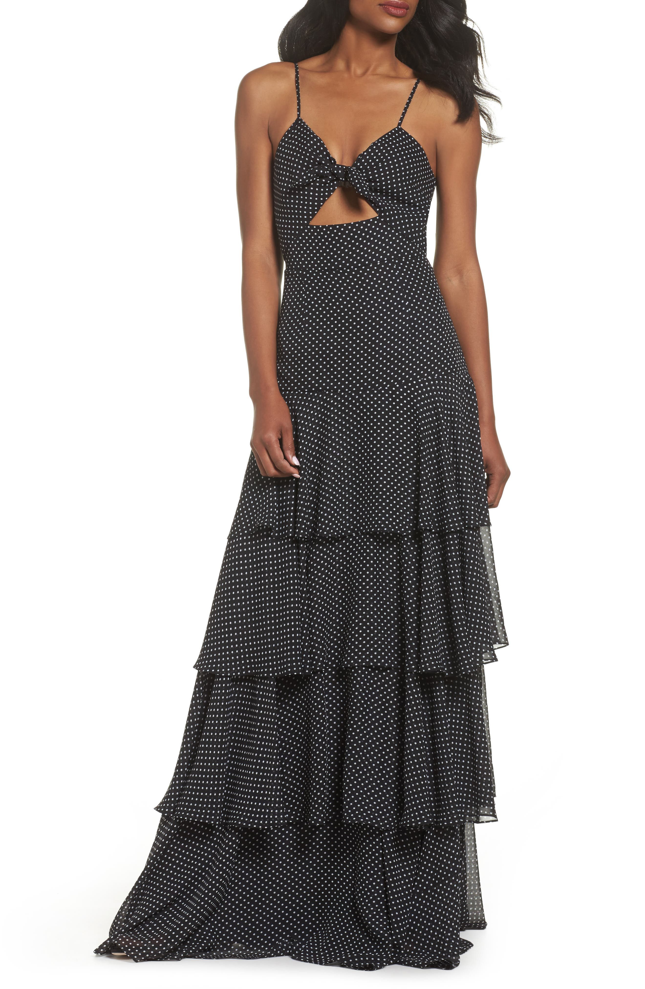 Polka Dot Tiered Gown,                             Main thumbnail 1, color,                             Black/ White