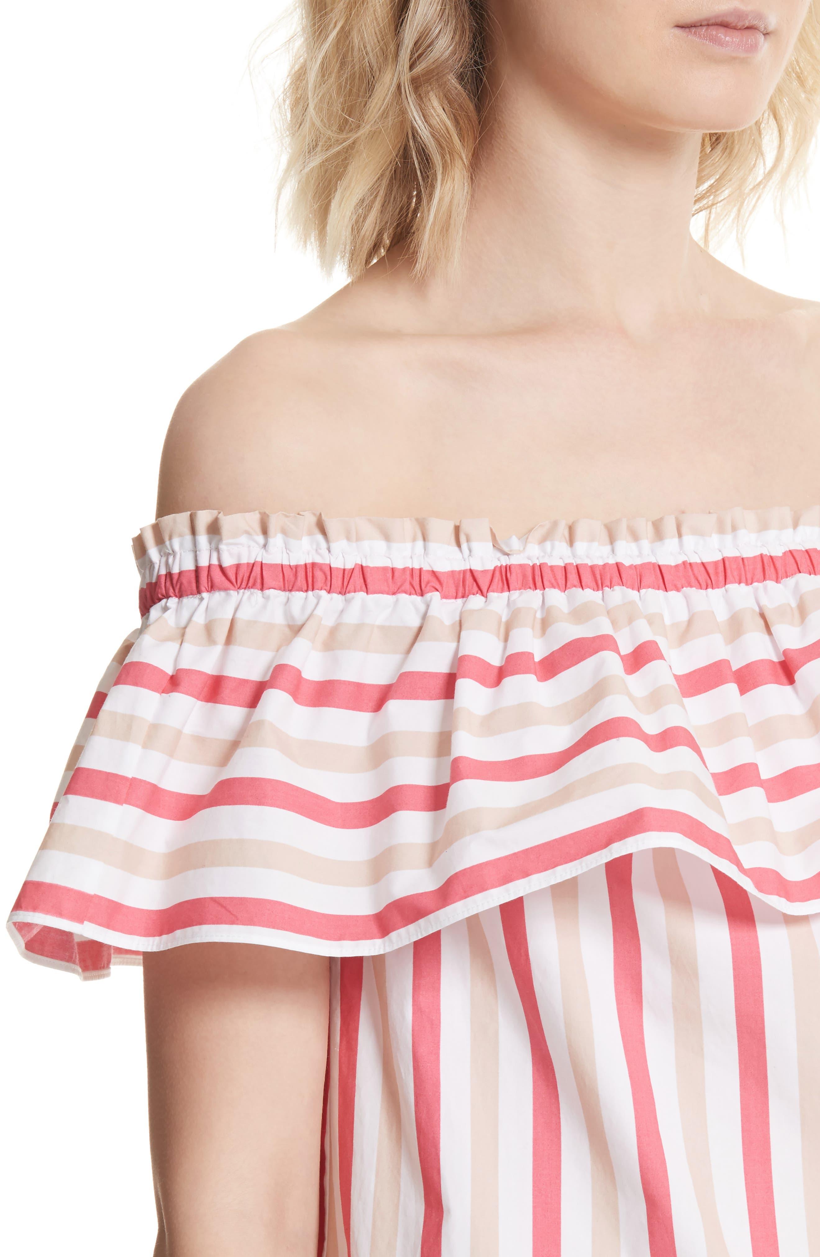 off the shoulder stripe top,                             Alternate thumbnail 4, color,                             Peach Sherbet