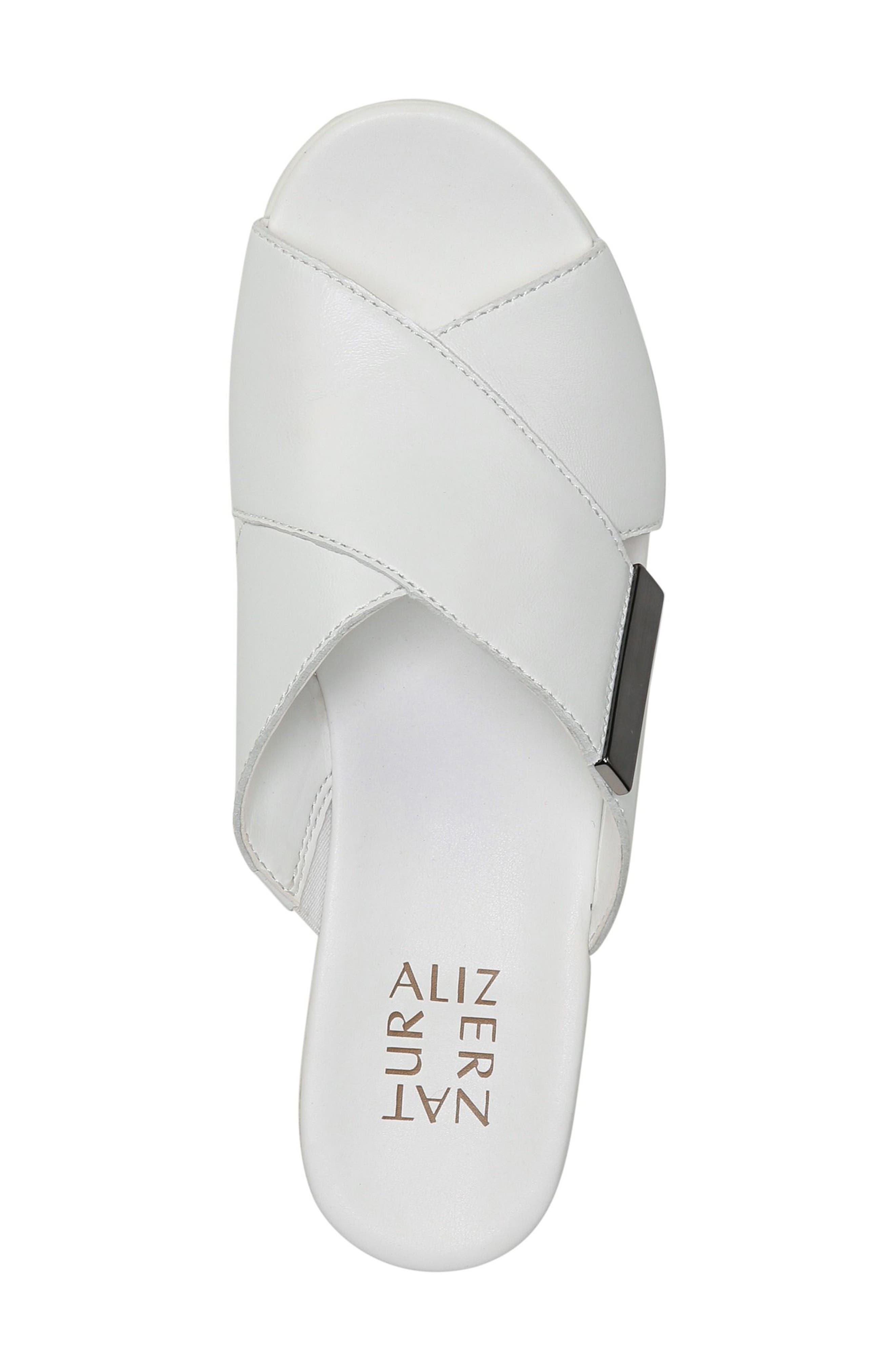 Izzy Wedge Sandal,                             Alternate thumbnail 3, color,                             White Leather