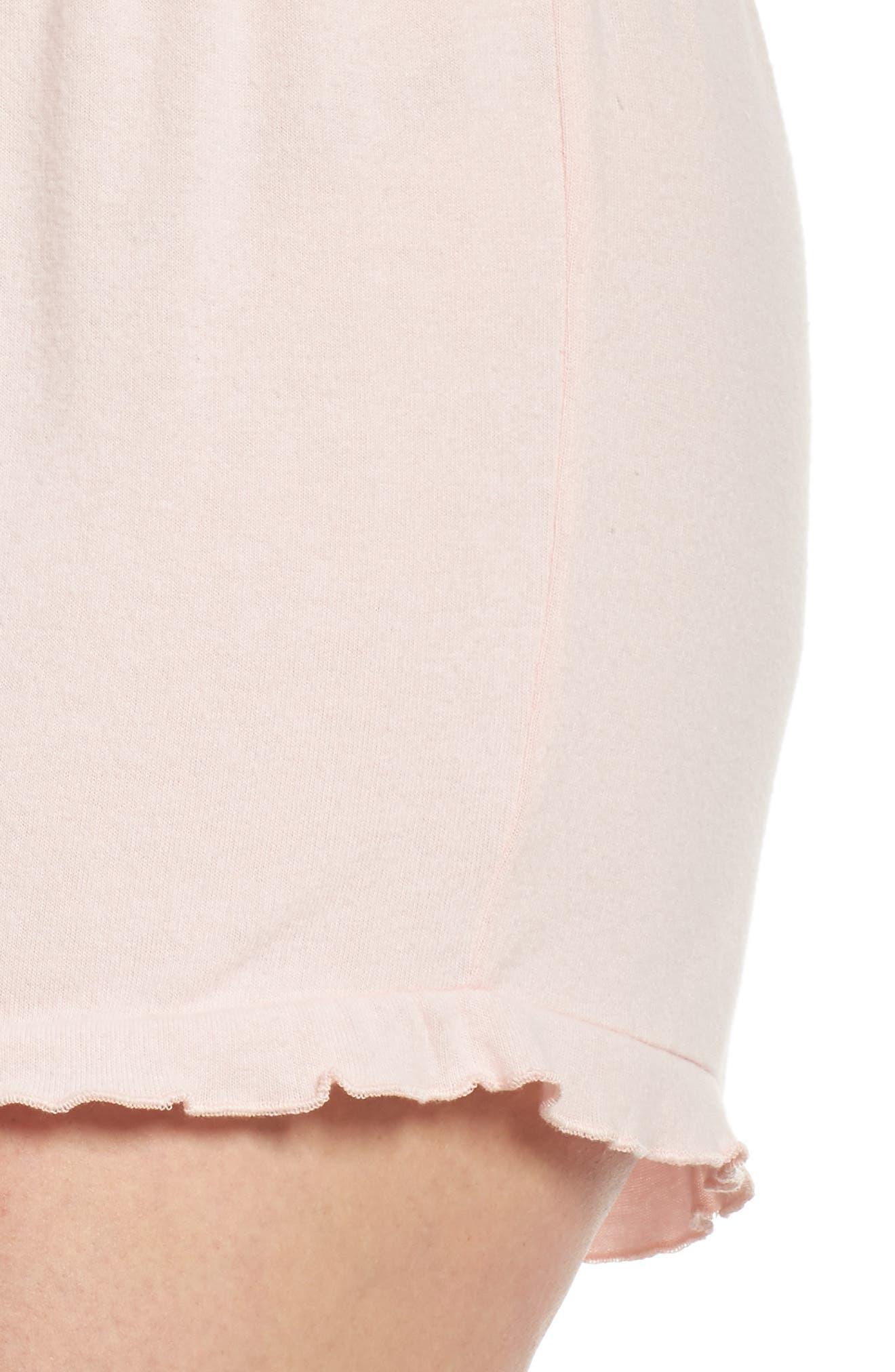 Ruffle Lounge Shorts,                             Alternate thumbnail 6, color,                             Blush