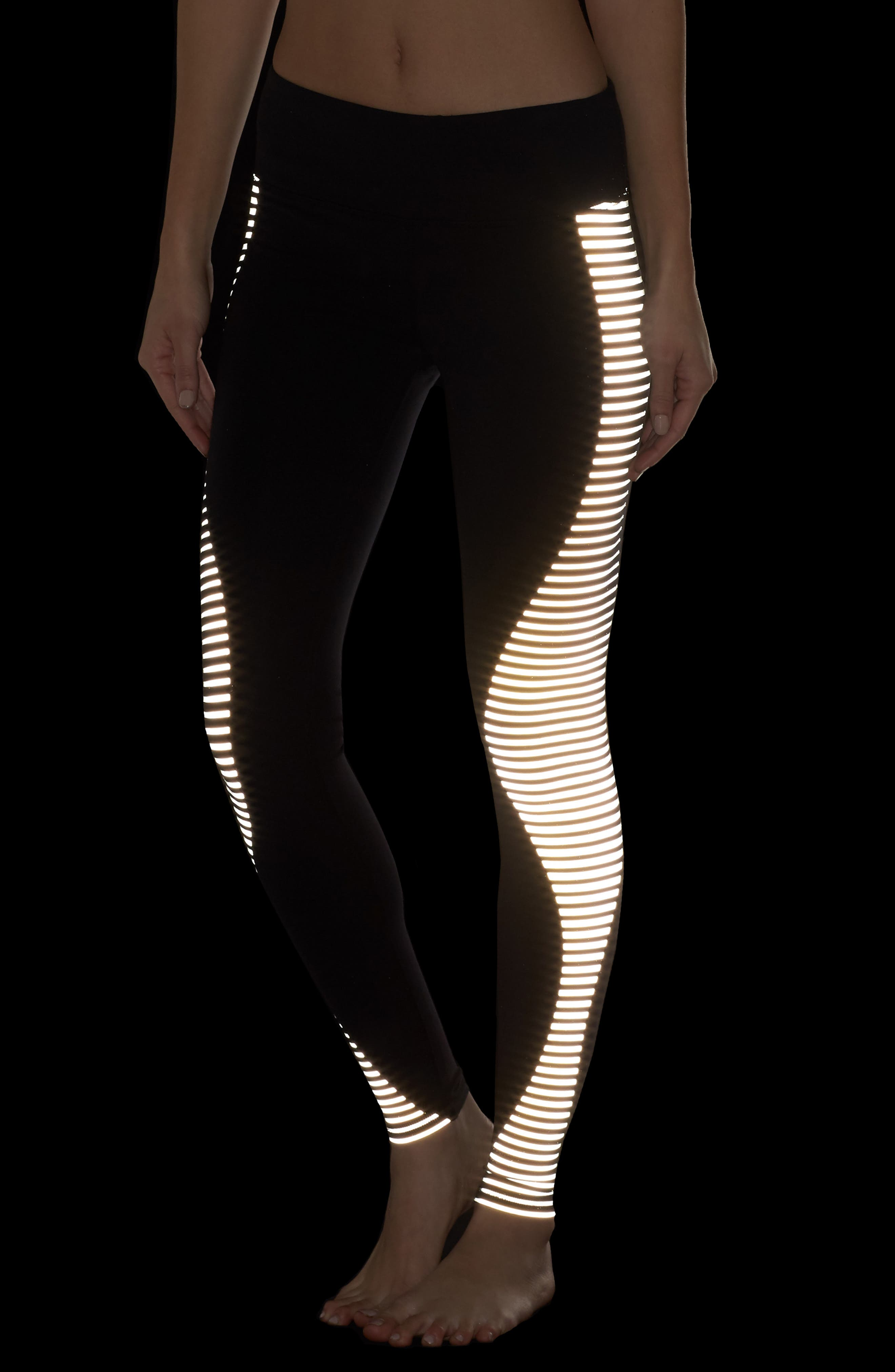 'Airbrushed' Leggings,                             Alternate thumbnail 7, color,                             Black Reflector