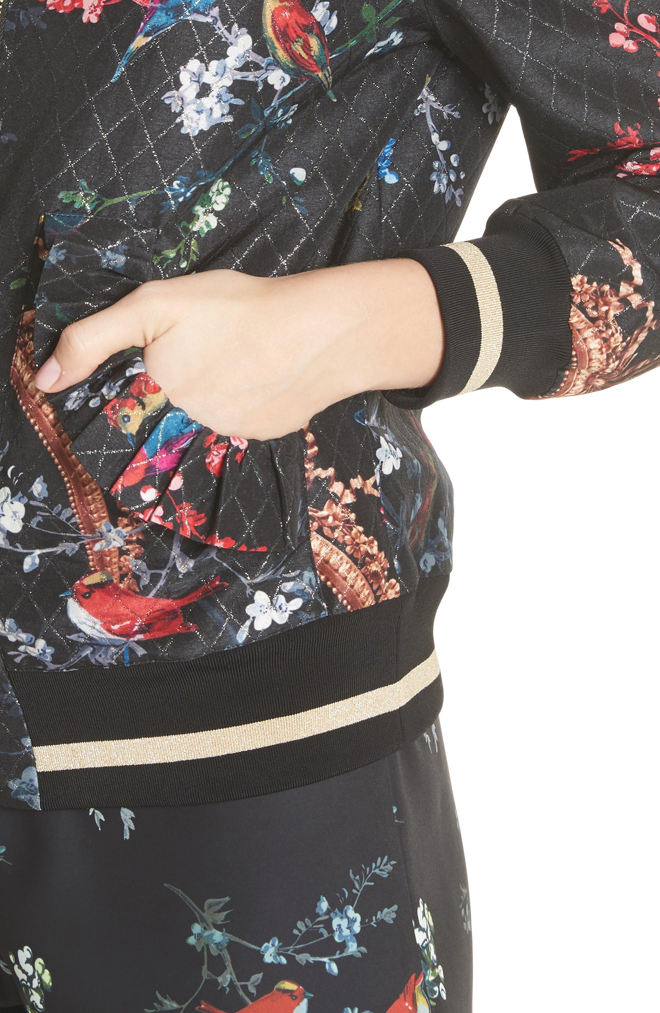 Opulent Fauna Bomber Jacket,                             Alternate thumbnail 4, color,                             Black