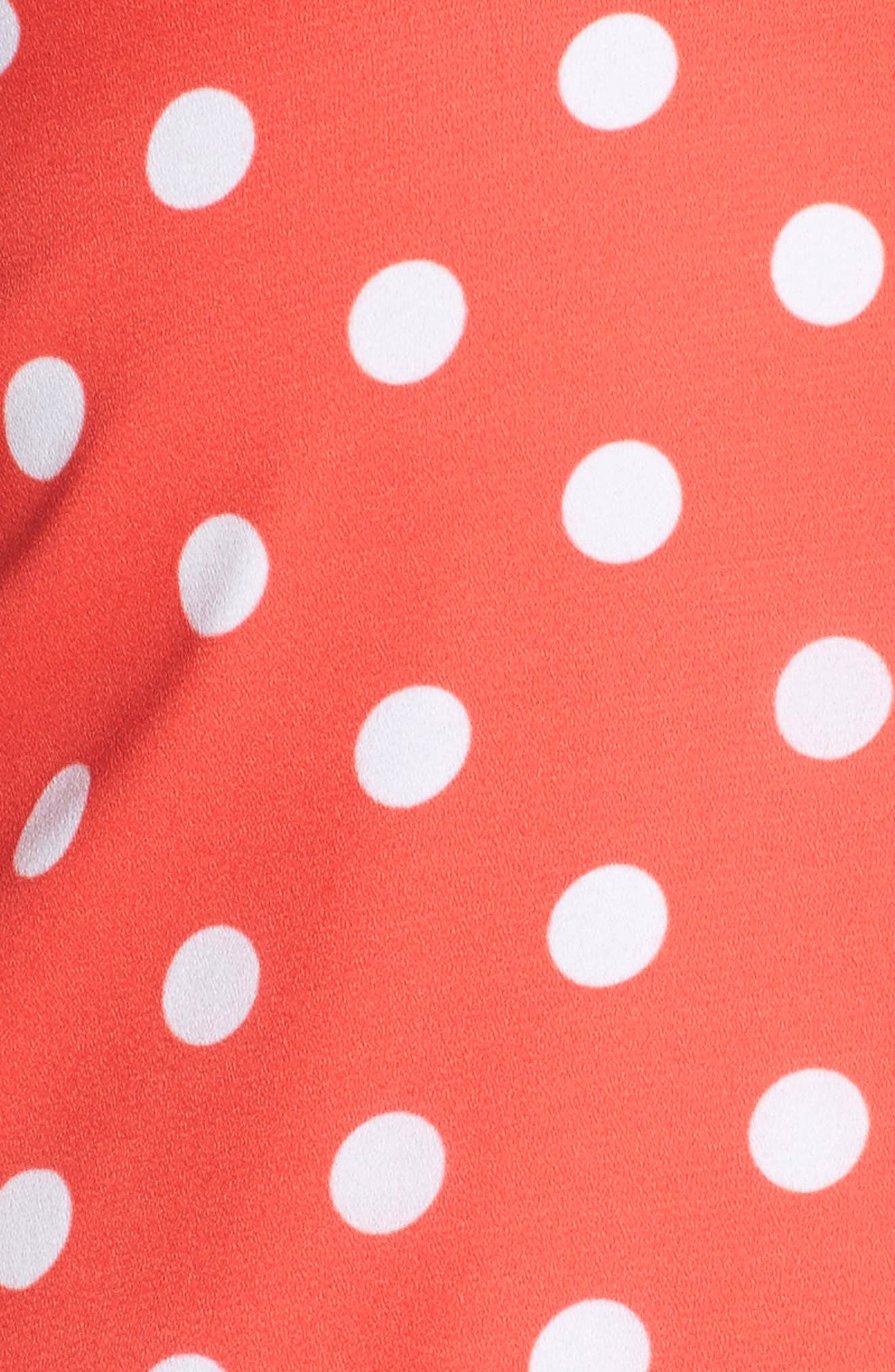 Flower Frolicking Midi Dress,                             Alternate thumbnail 5, color,                             Coral Polka Dot