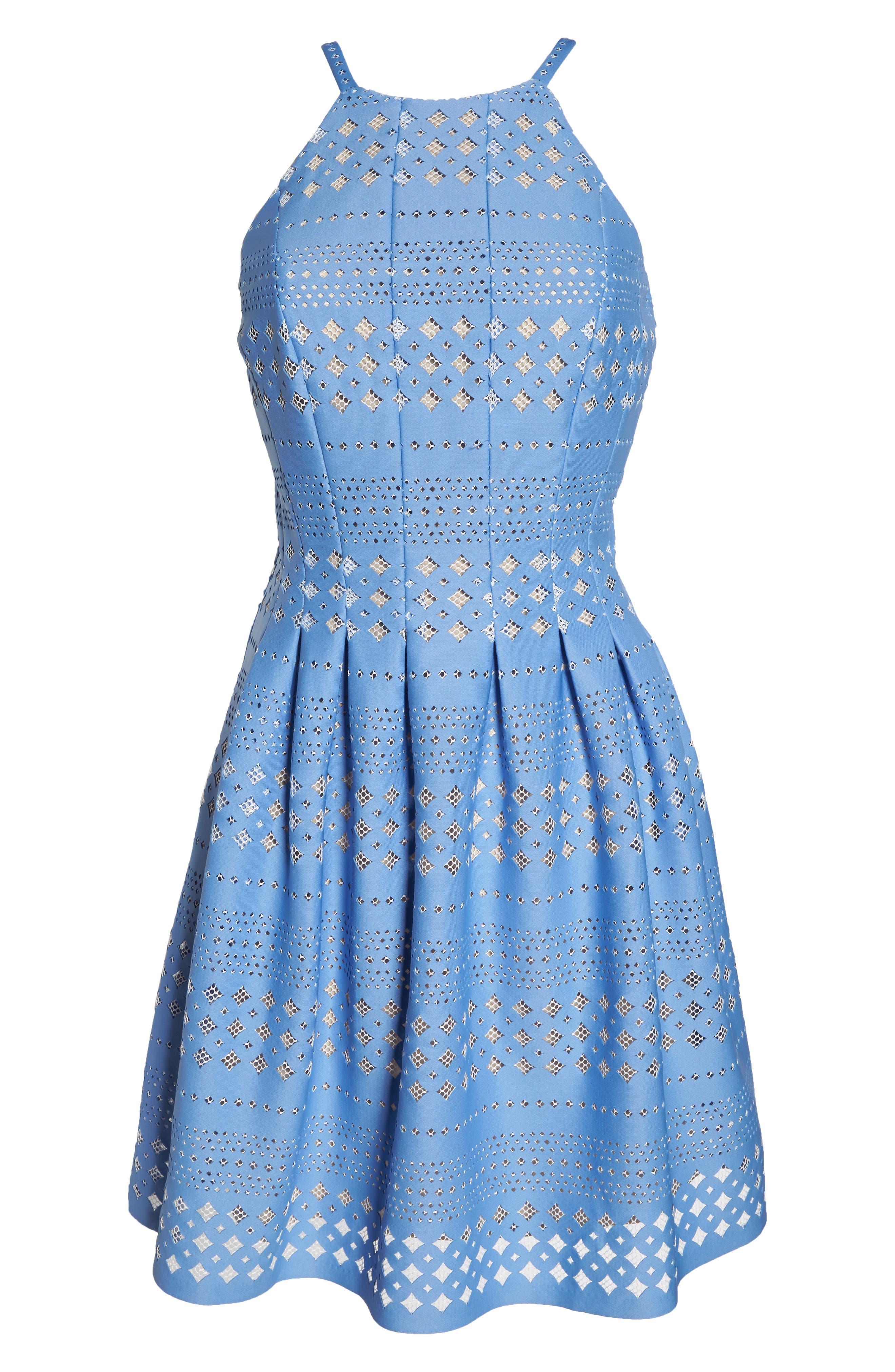 Alternate Image 6  - Eliza J Laser Cut Fit & Flare Halter Dress