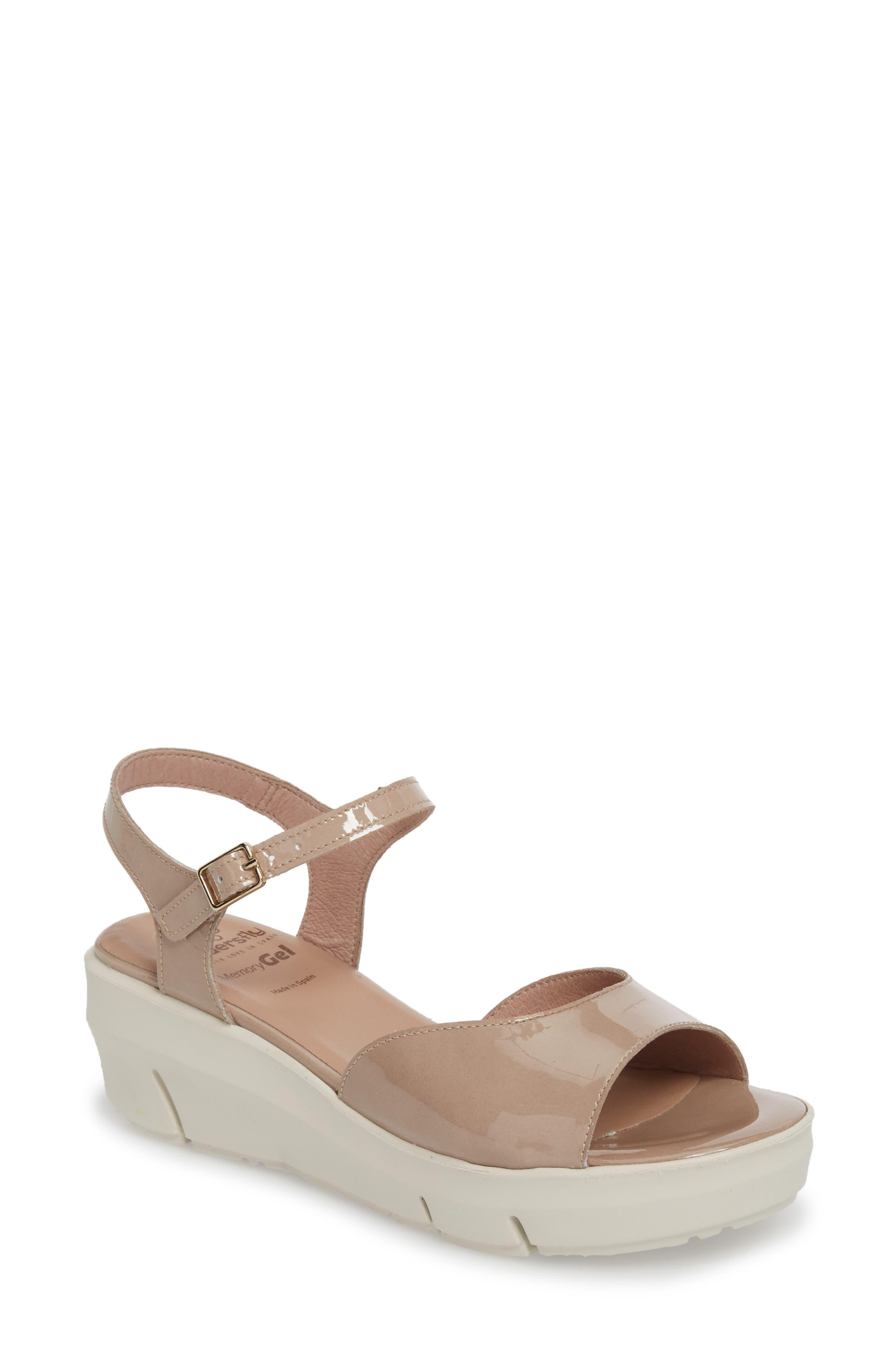 D-8201 Platform Sandal,                             Main thumbnail 1, color,                             Taupe Leather