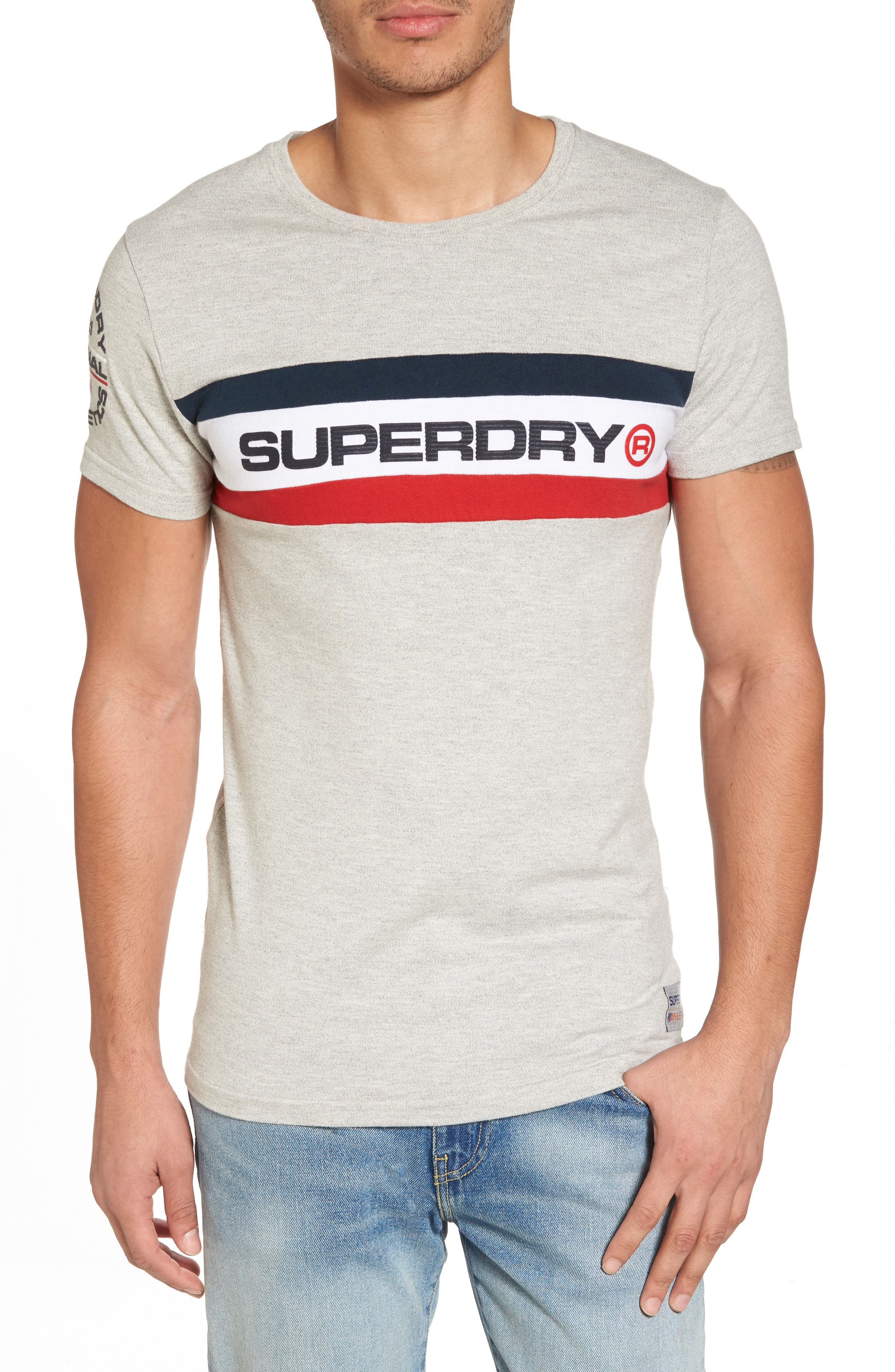 Trophy Chest Band T-Shirt,                             Main thumbnail 1, color,                             Superdry Stadium Grey Grindle