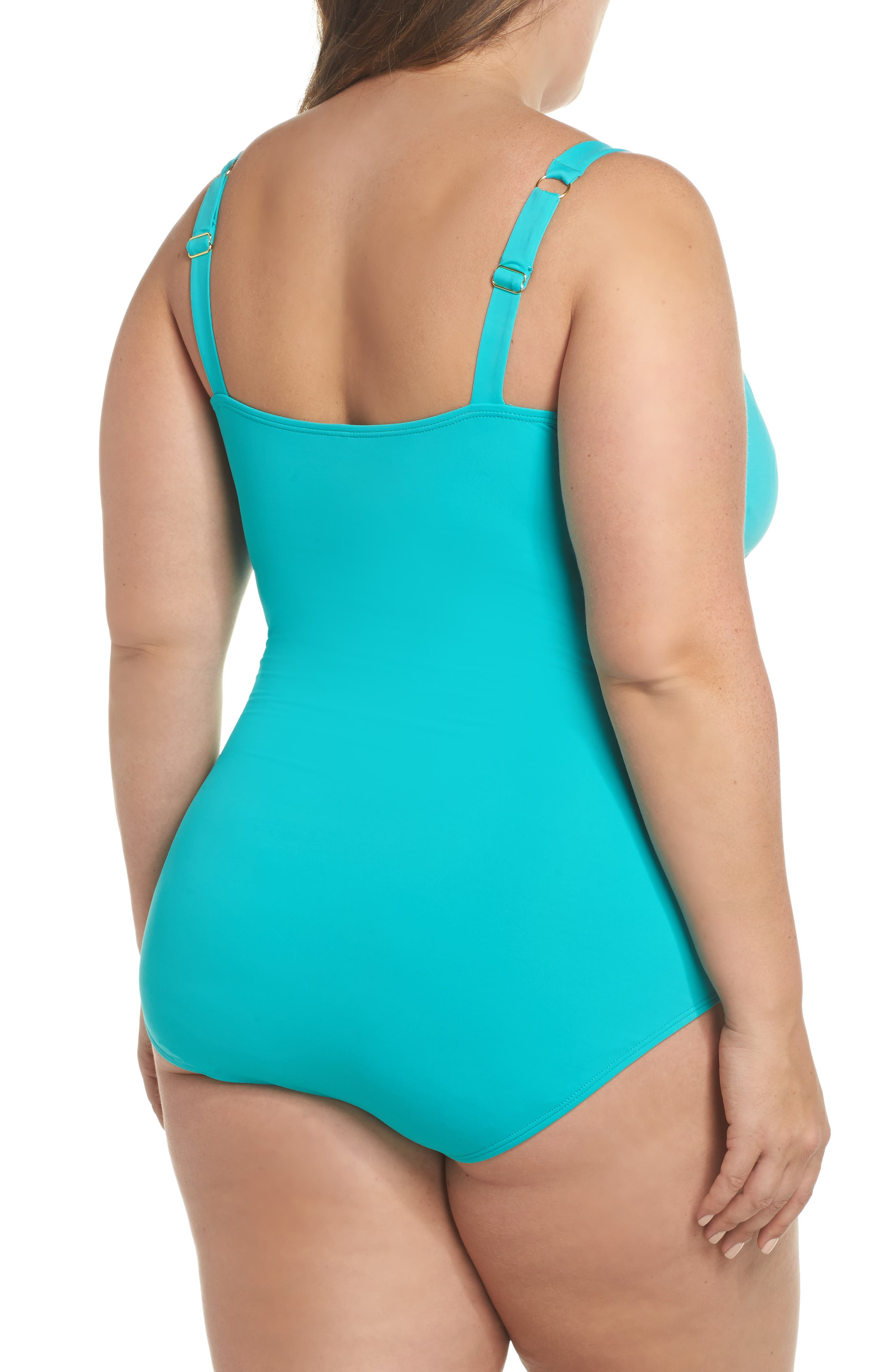 Pearl One-Piece Swimsuit,                             Alternate thumbnail 2, color,                             Ming Jade