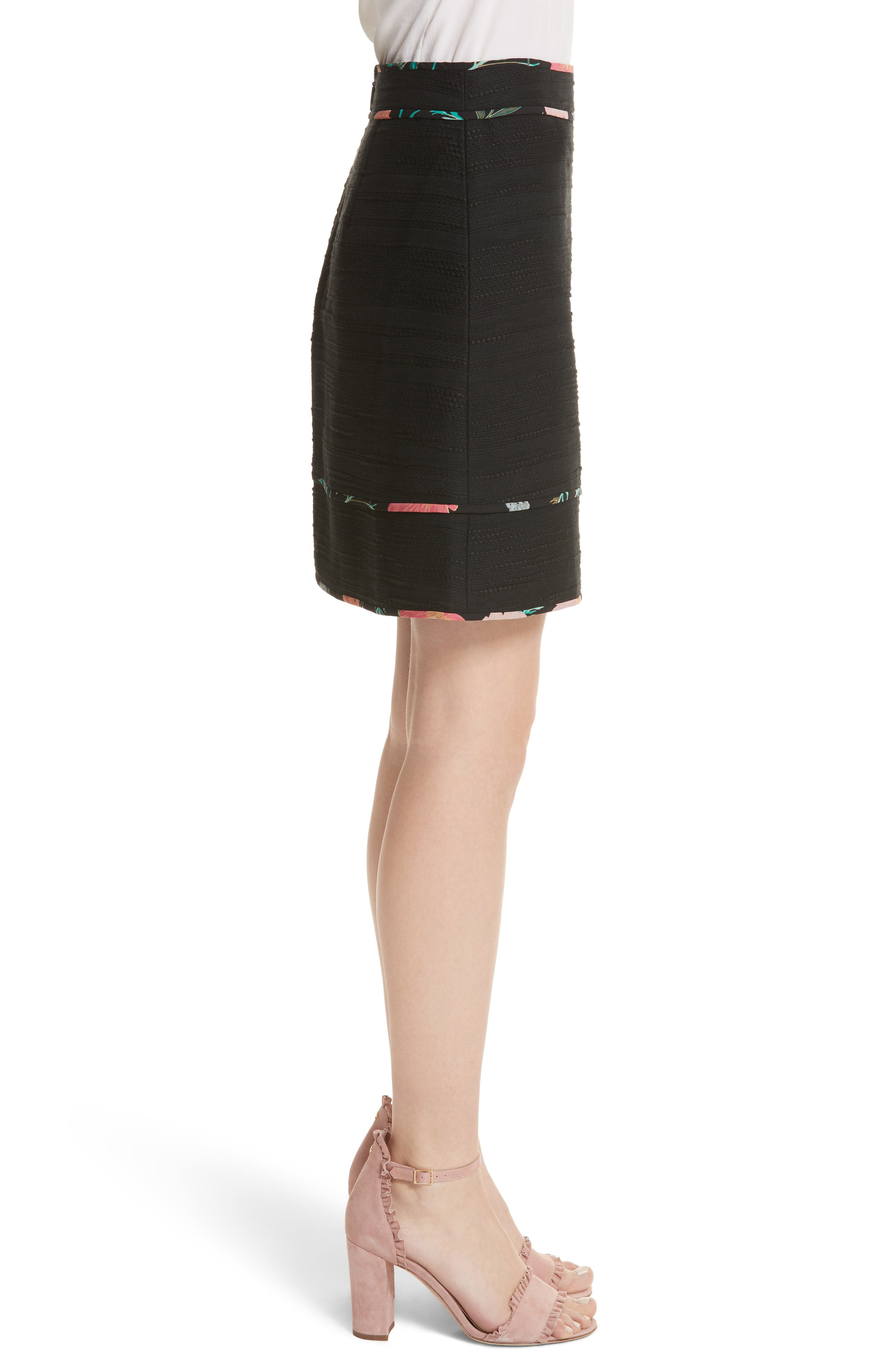 blossom trim tweed A-line skirt,                             Alternate thumbnail 3, color,                             Black