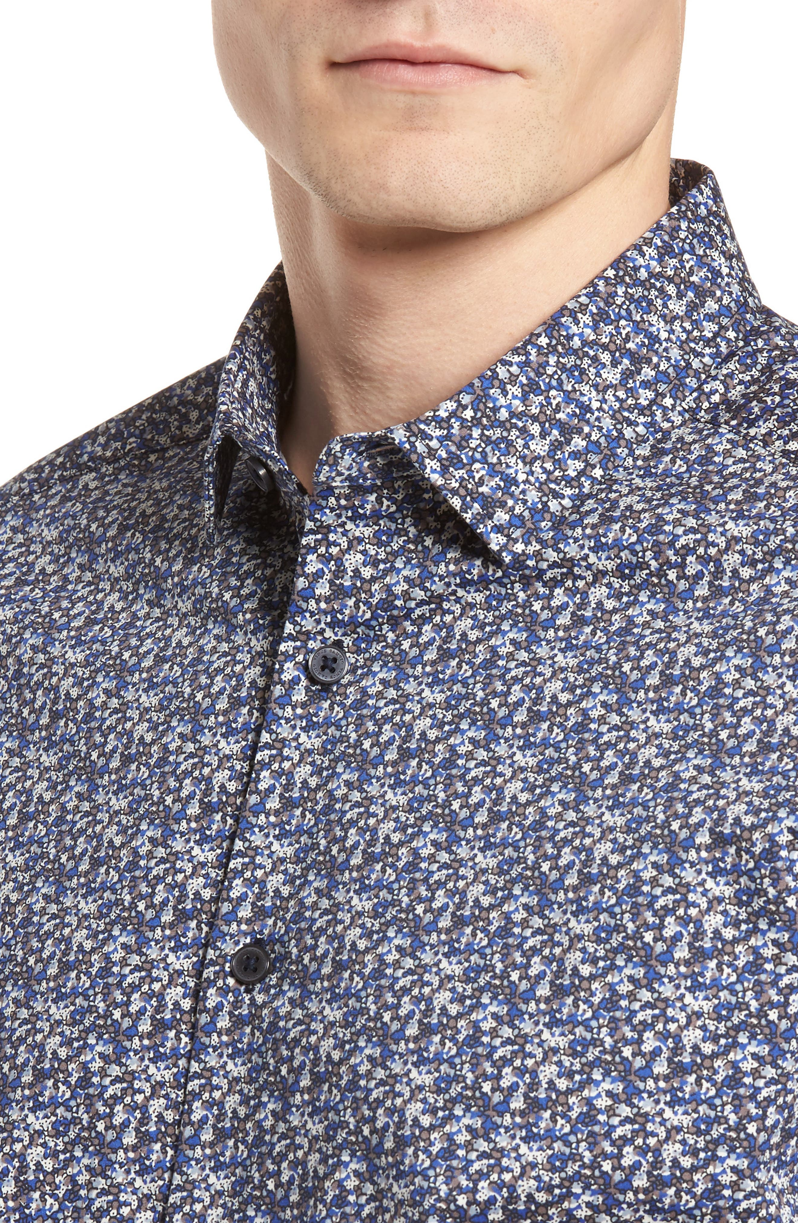 Slim Fit Print Sport Shirt,                             Alternate thumbnail 4, color,                             Blue Abstract Floral