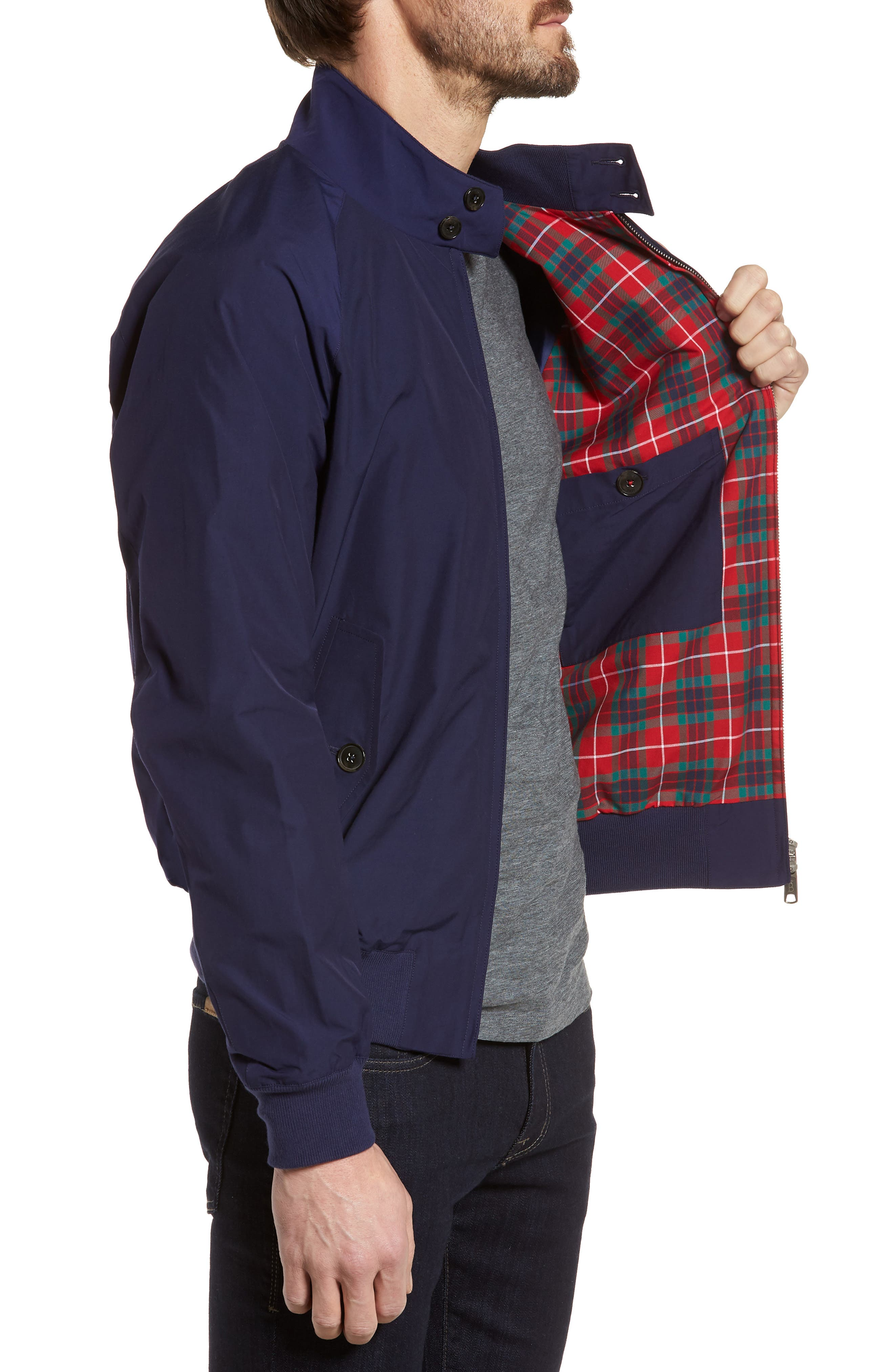 G9 Water Repellent Harrington Jacket,                             Alternate thumbnail 3, color,                             Indigo