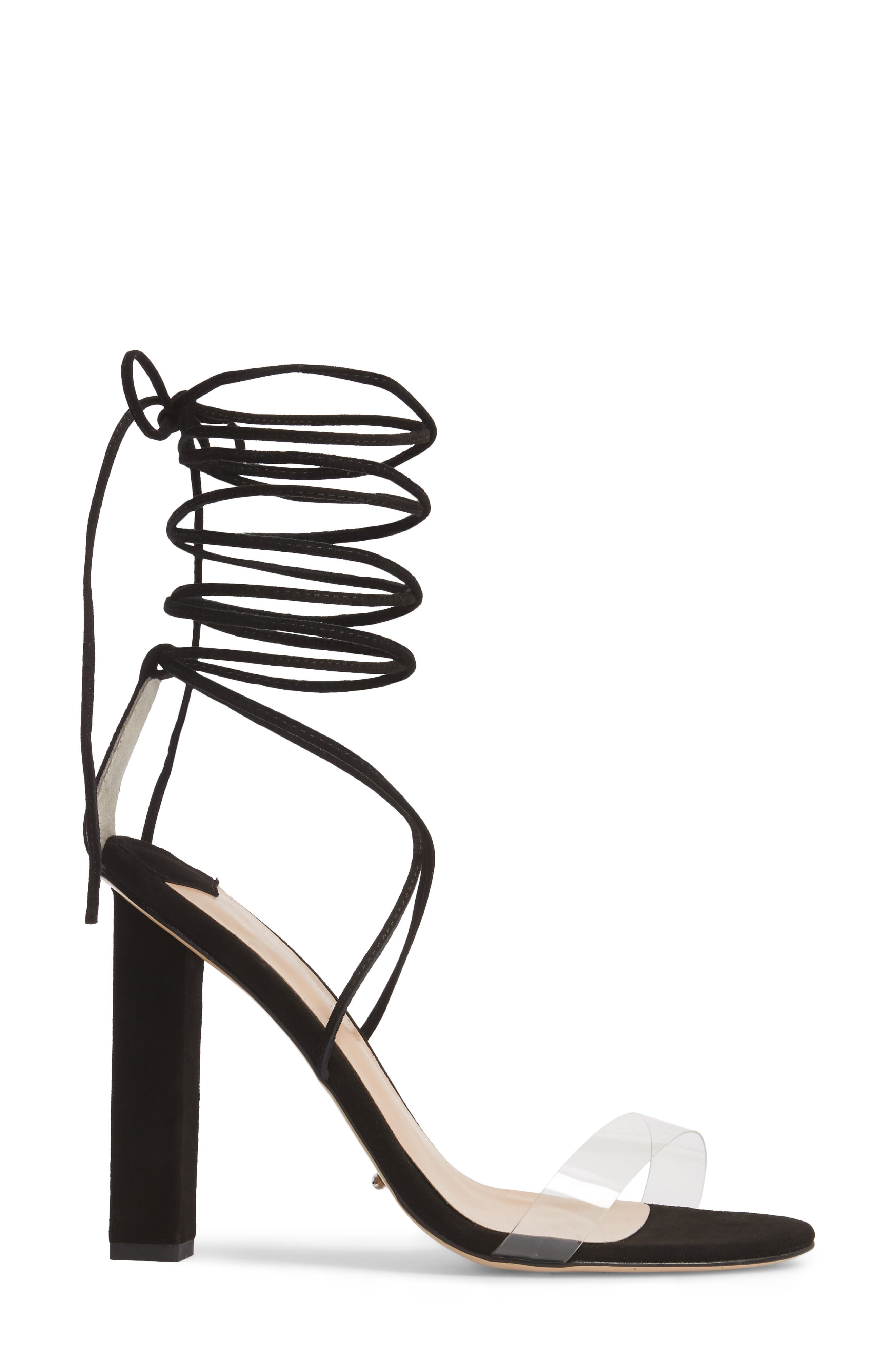 Kendall Ankle Tie Sandal,                             Alternate thumbnail 3, color,                             Clear/ Black Suede