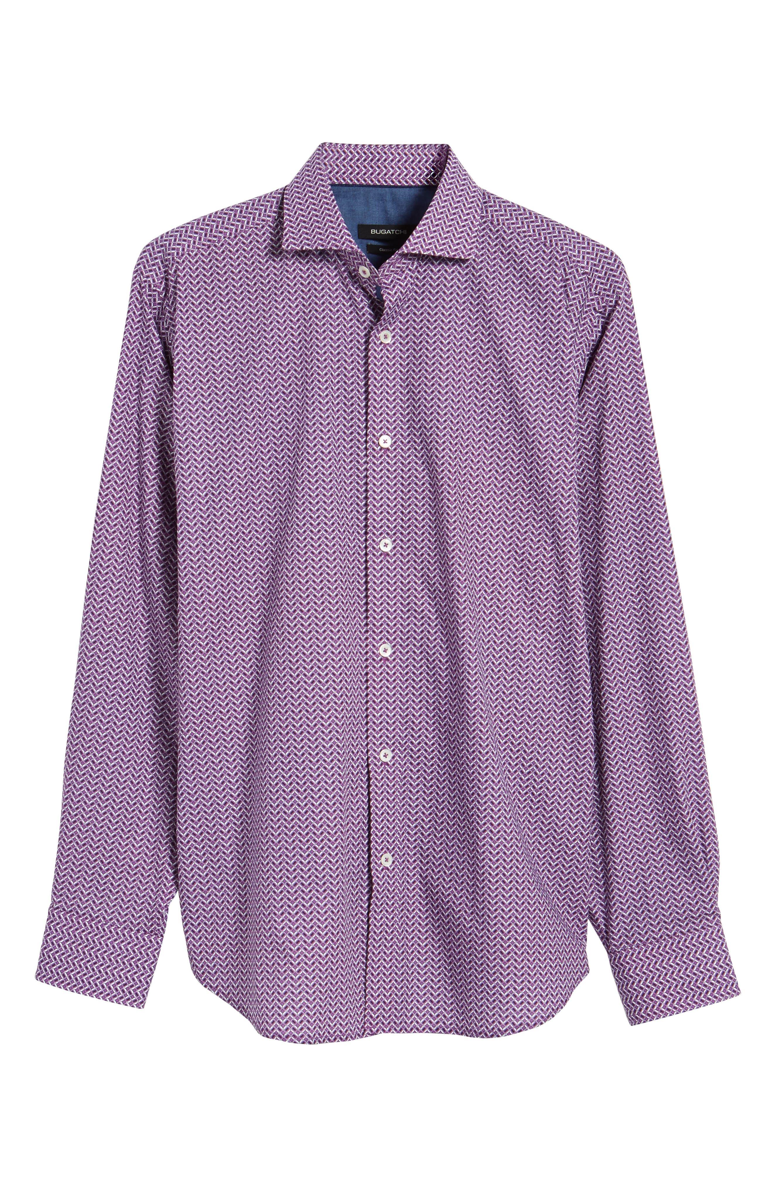 Classic Fit Print Sport Shirt,                             Alternate thumbnail 6, color,                             Plum