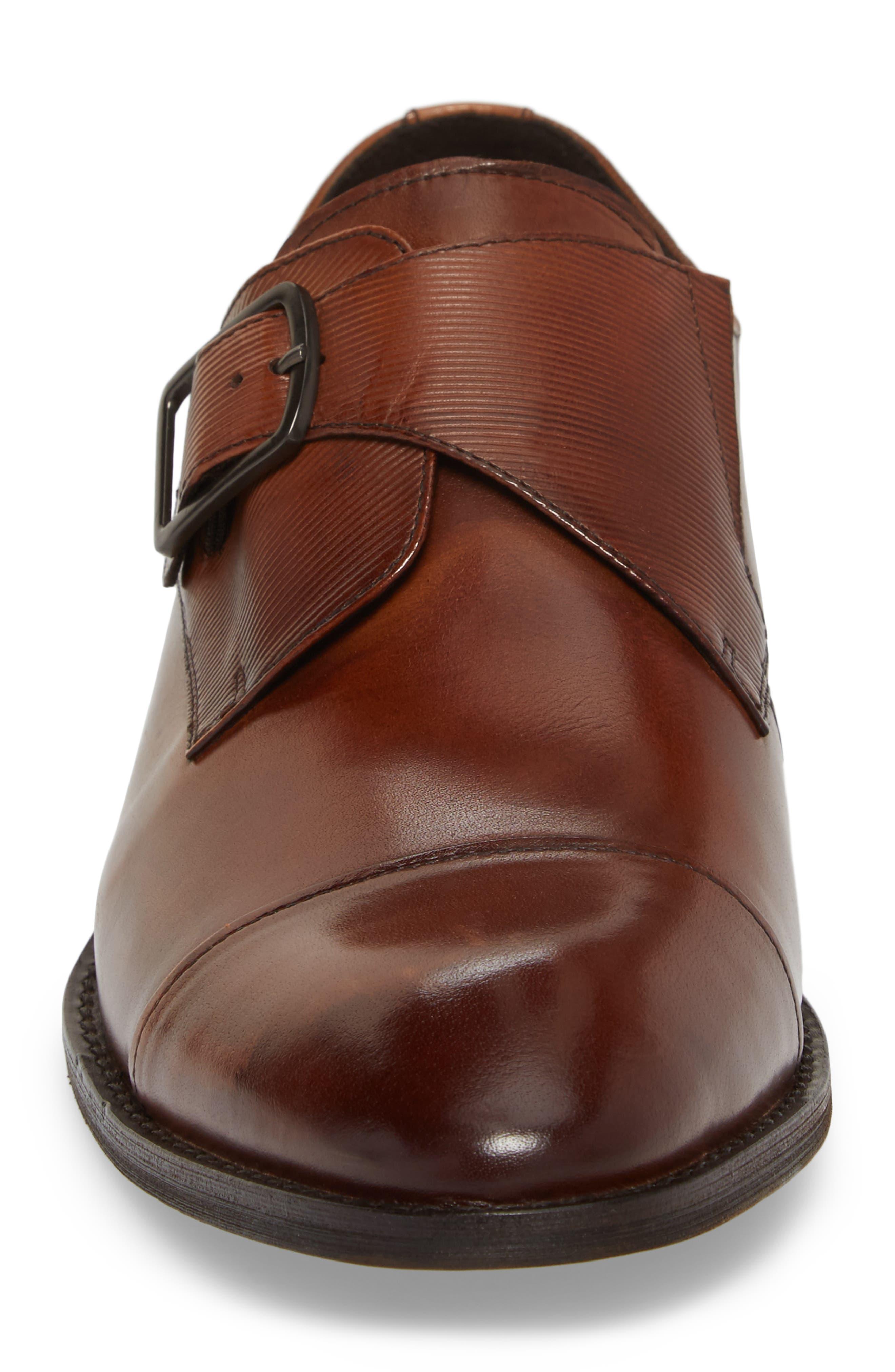 Courage Monk Strap Shoe,                             Alternate thumbnail 4, color,                             Cognac Leather