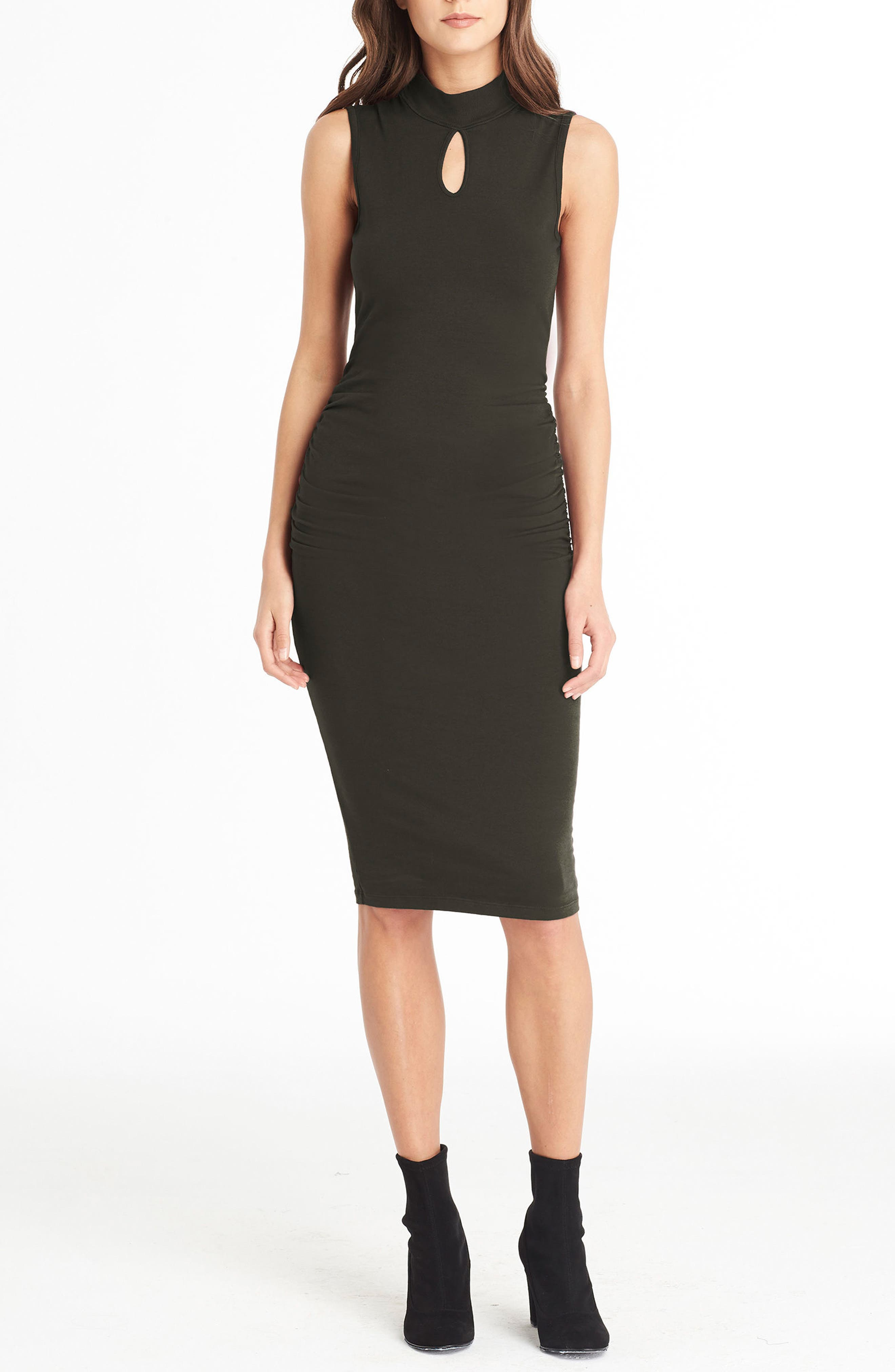 Keyhole Body-Con Dress,                         Main,                         color, Loden