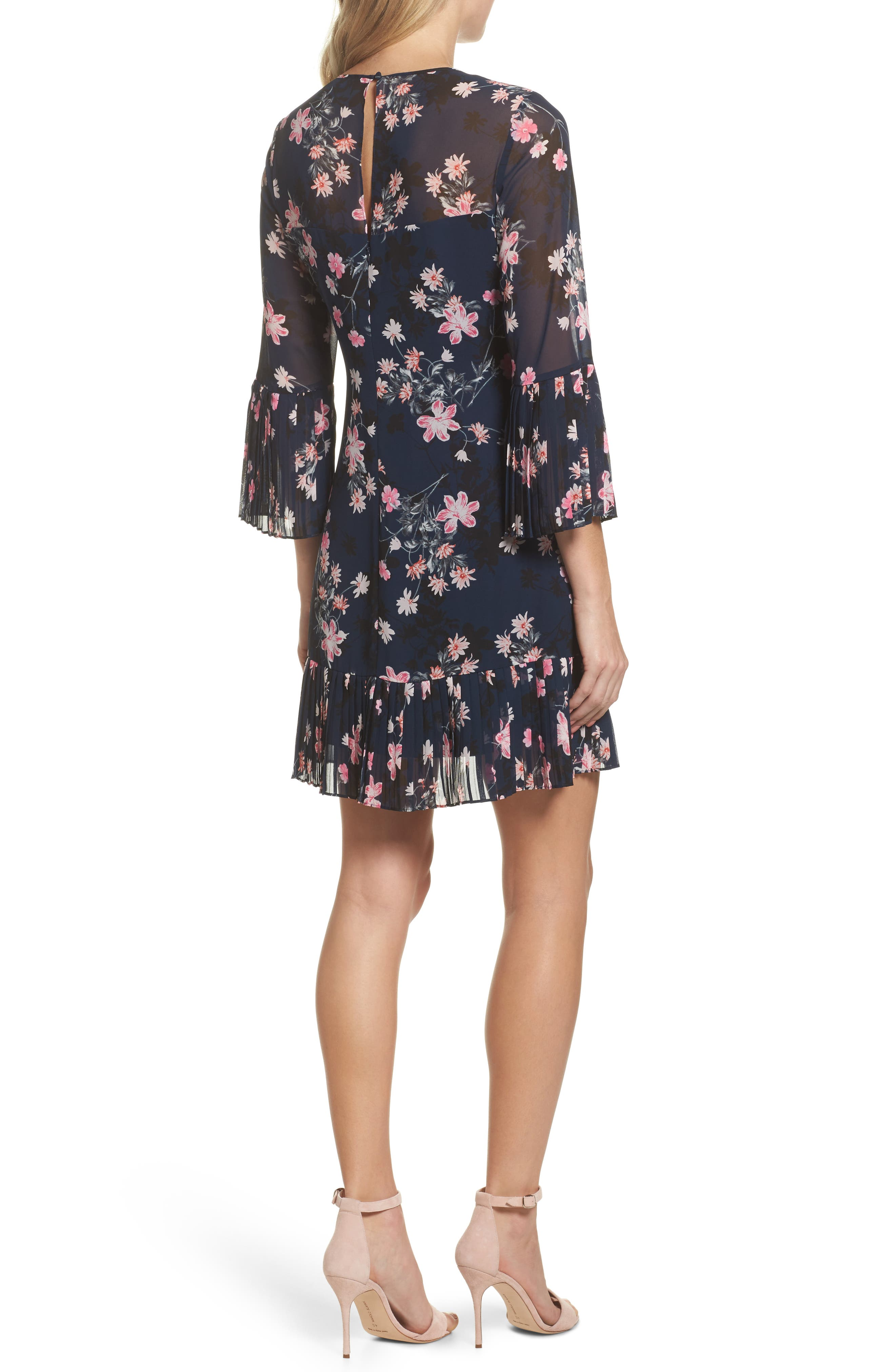 Floral Print Bell Sleeve Dress,                             Alternate thumbnail 2, color,                             Navy