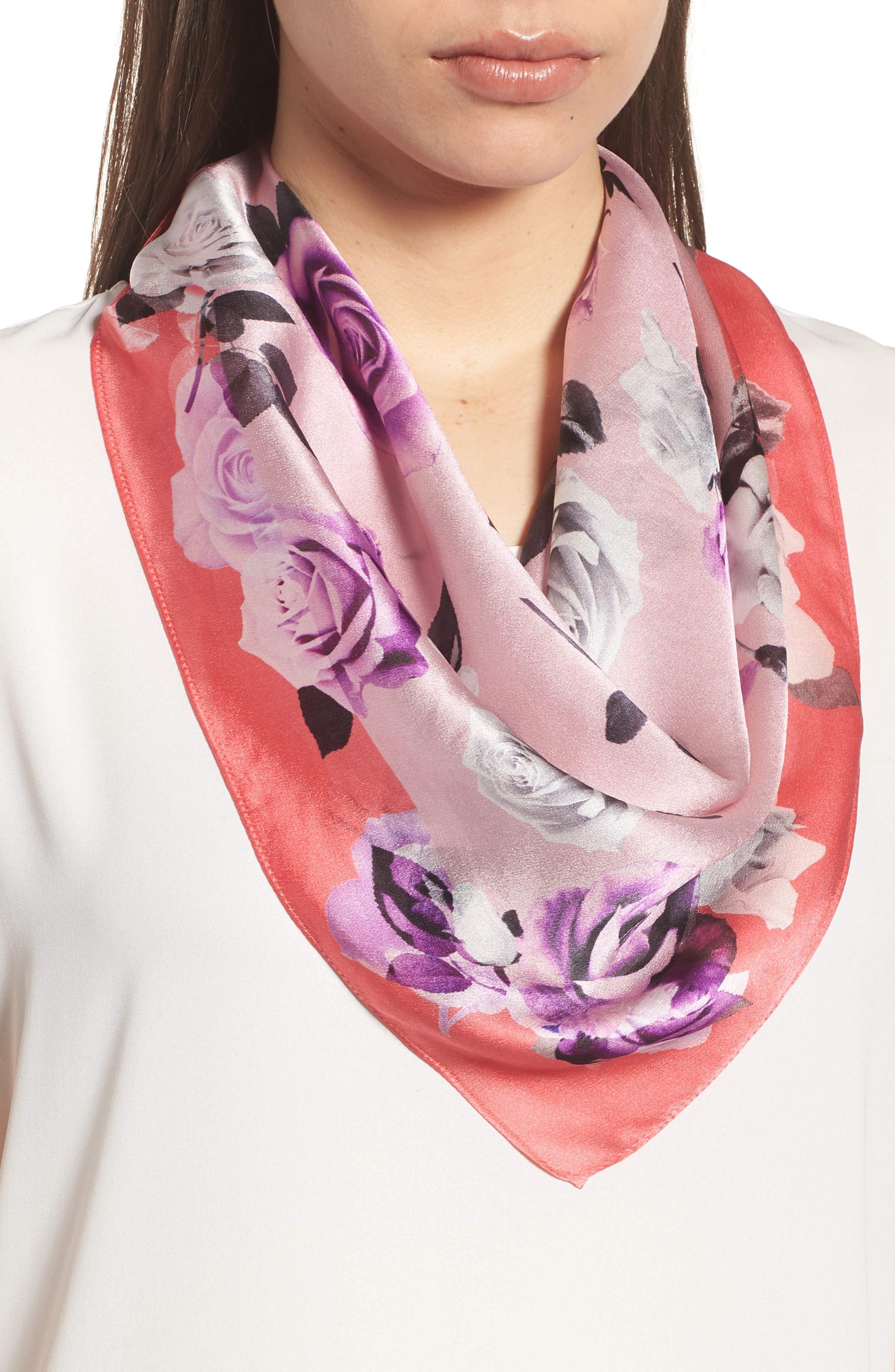 Print Silk Scarf,                             Main thumbnail 1, color,                             Pink Glam Rock Rose Print